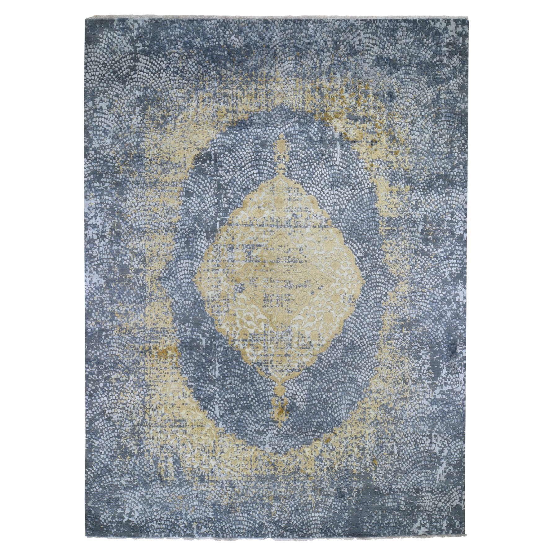 "9'x11'10"" Gray Gold Persian Design Wool And Pure Silk Hand Knotted Oriental Rug"