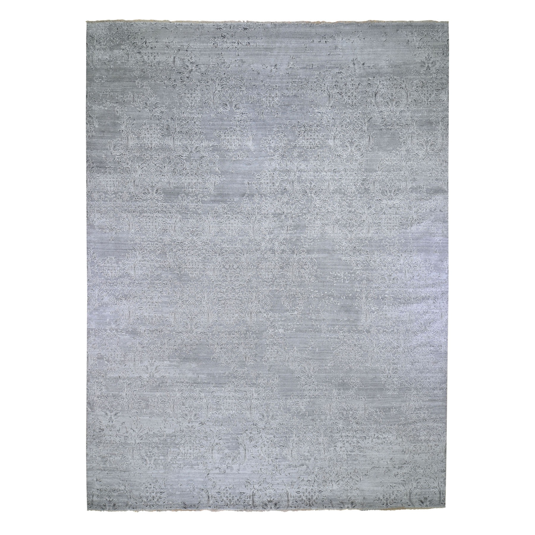 "11'9""x14'10"" Oversize Gray Damask Tone On Tone Wool and Silk Hand-Knotted Oriental Rug"