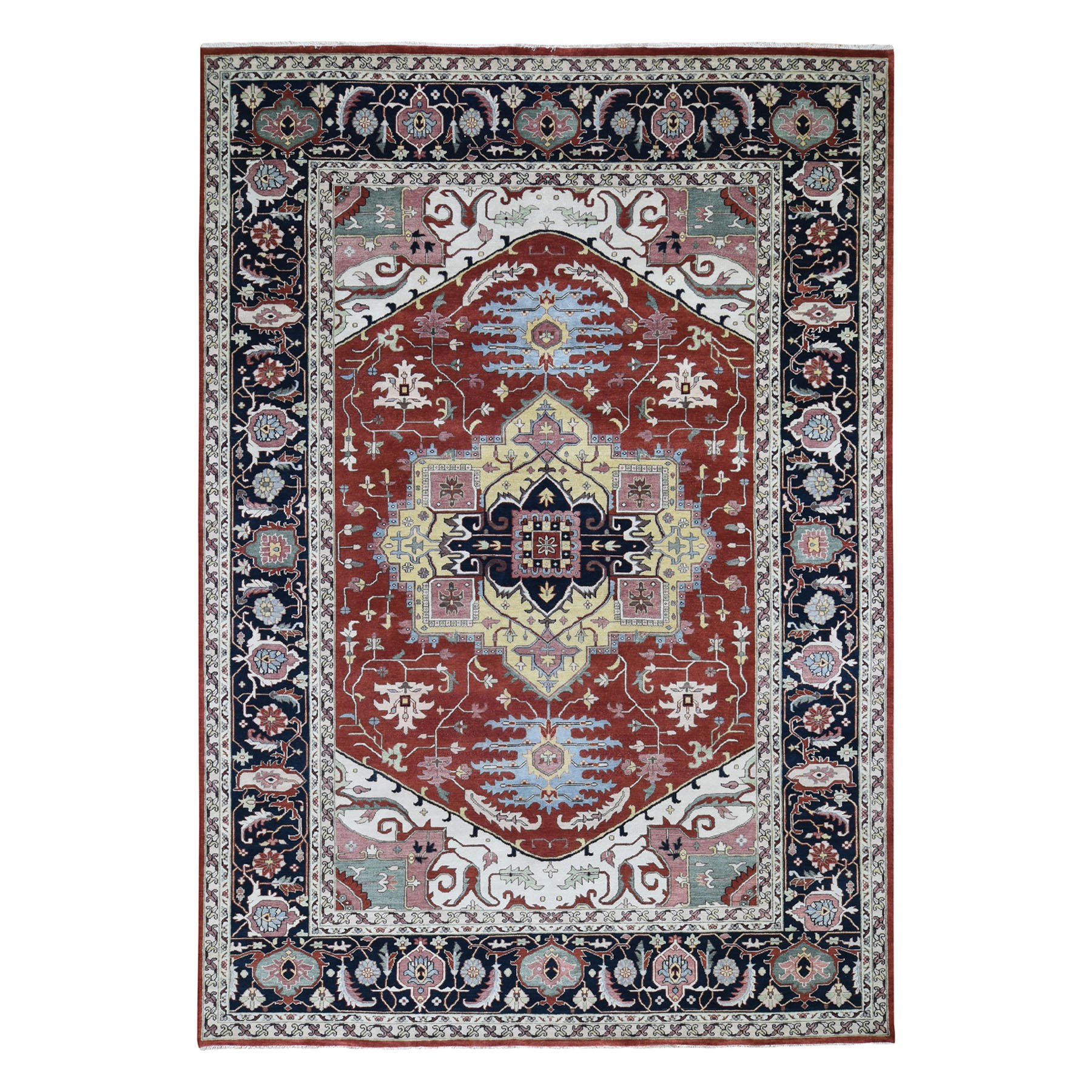 "10'X13'8"" Red Heriz Revival Pure Wool Hand Knotted Oriental Rug moad7bc0"