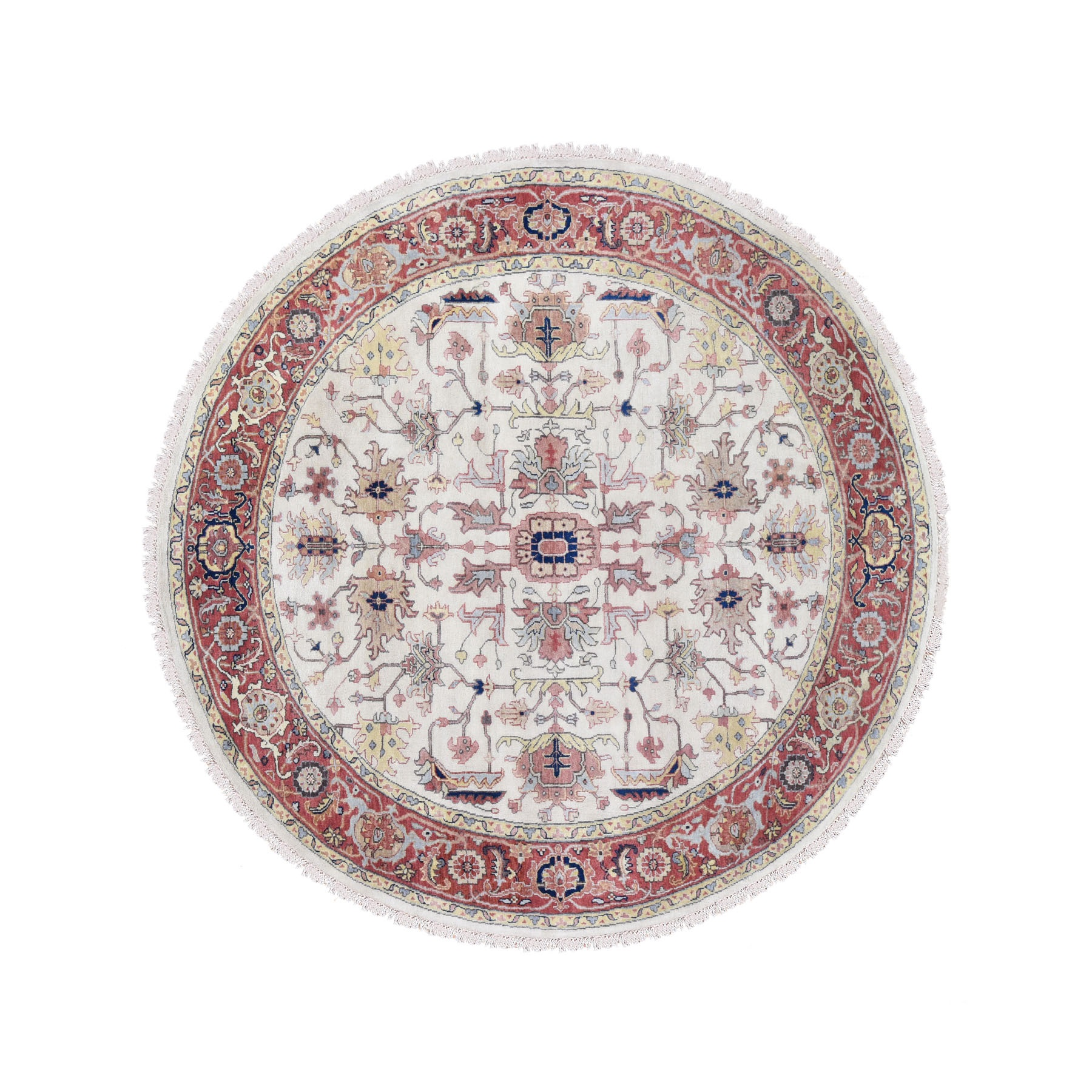 8'x8' Ivory Heriz Revival All Over Design Round Pure Wool Hand Knotted Oriental Rug