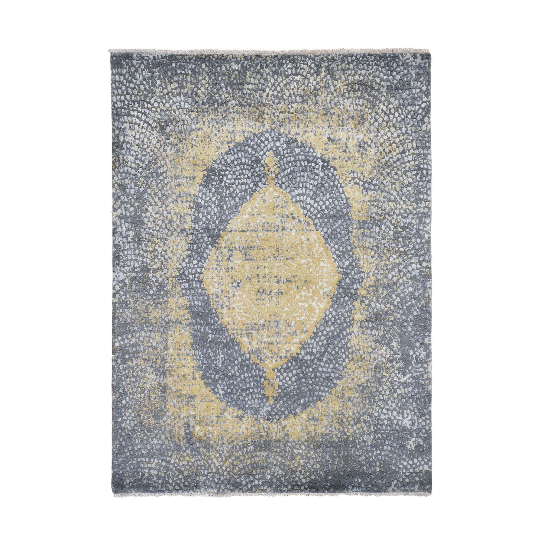 "5'2""x7' Gray-Gold Persian Design Wool And Pure Silk Hand Knotted Oriental Rug"