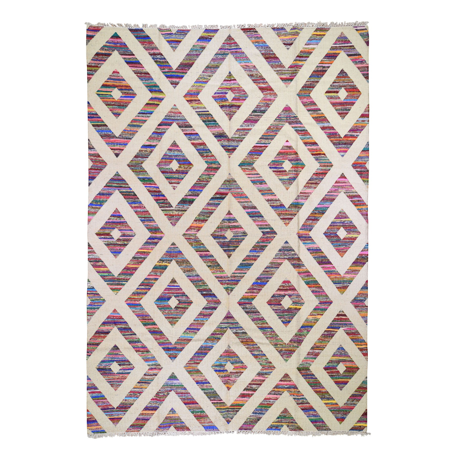 "9'10""X14' Cotton And Sari Silk Geometric Durie Kilim Hand Woven Oriental Rug moad7bde"