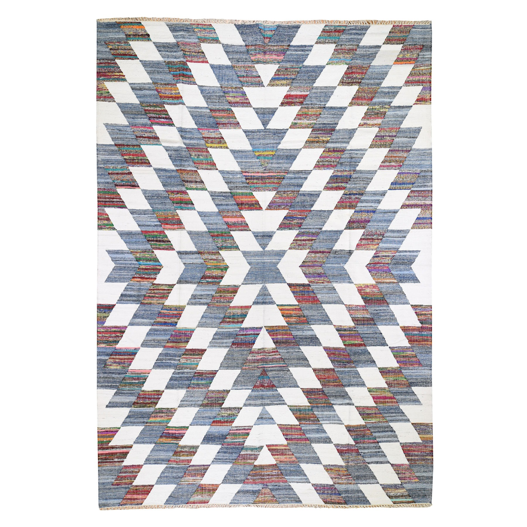 "9'8""x14' Hand-Woven Geometric Cotton And Sari Silk Durie Kilim Oriental Rug"