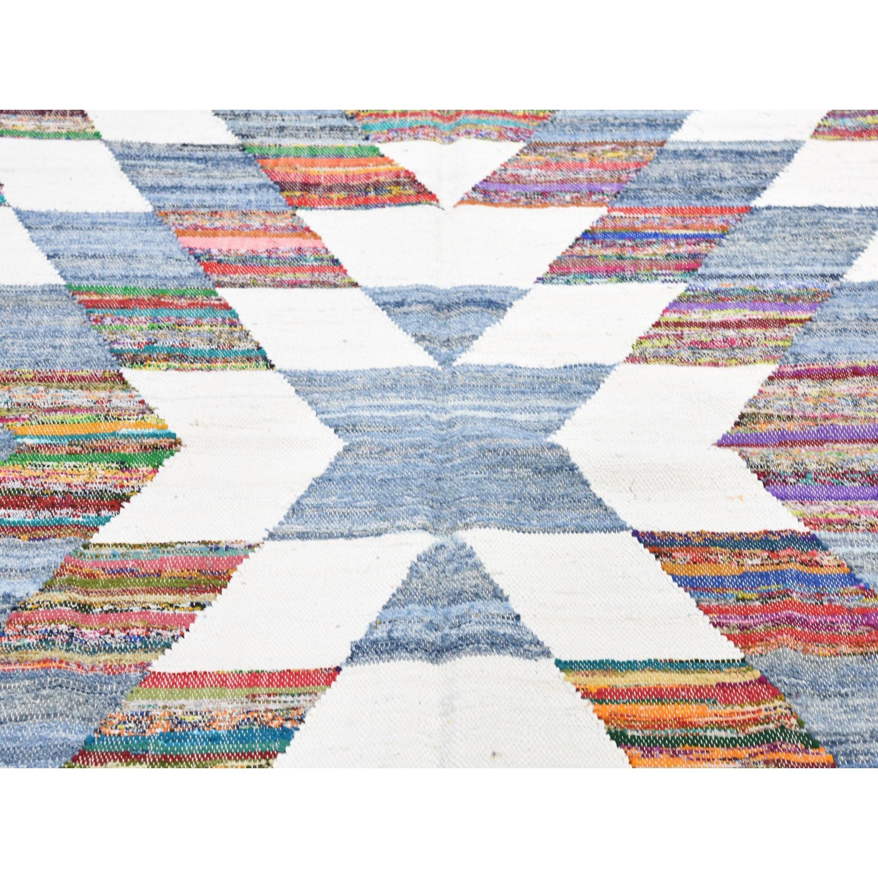 9-8 x14- Hand-Woven Geometric Cotton And Sari Silk Durie Kilim Oriental Rug