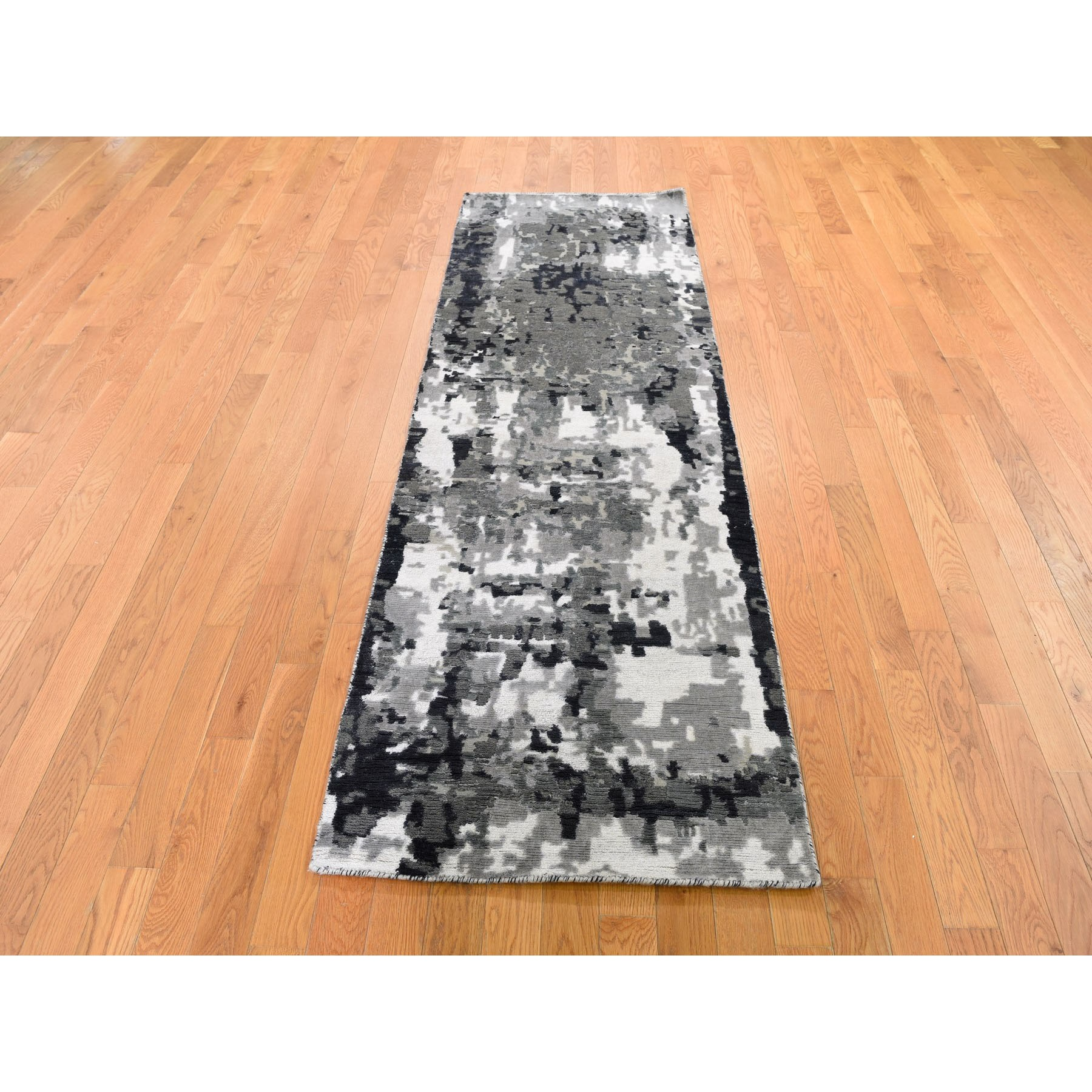 2-6 x7-7  Hi-Low Pile Abstract Design Wool And Silk Runner Hand Knotted Oriental Rug
