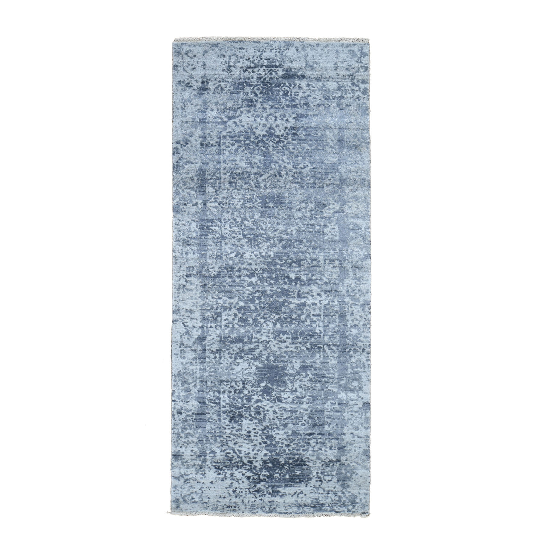 "2'7""x7'10"" Hand-Knotted Broken Persian Design Wool And Pure Silk Grey Oriental Runner Rug"