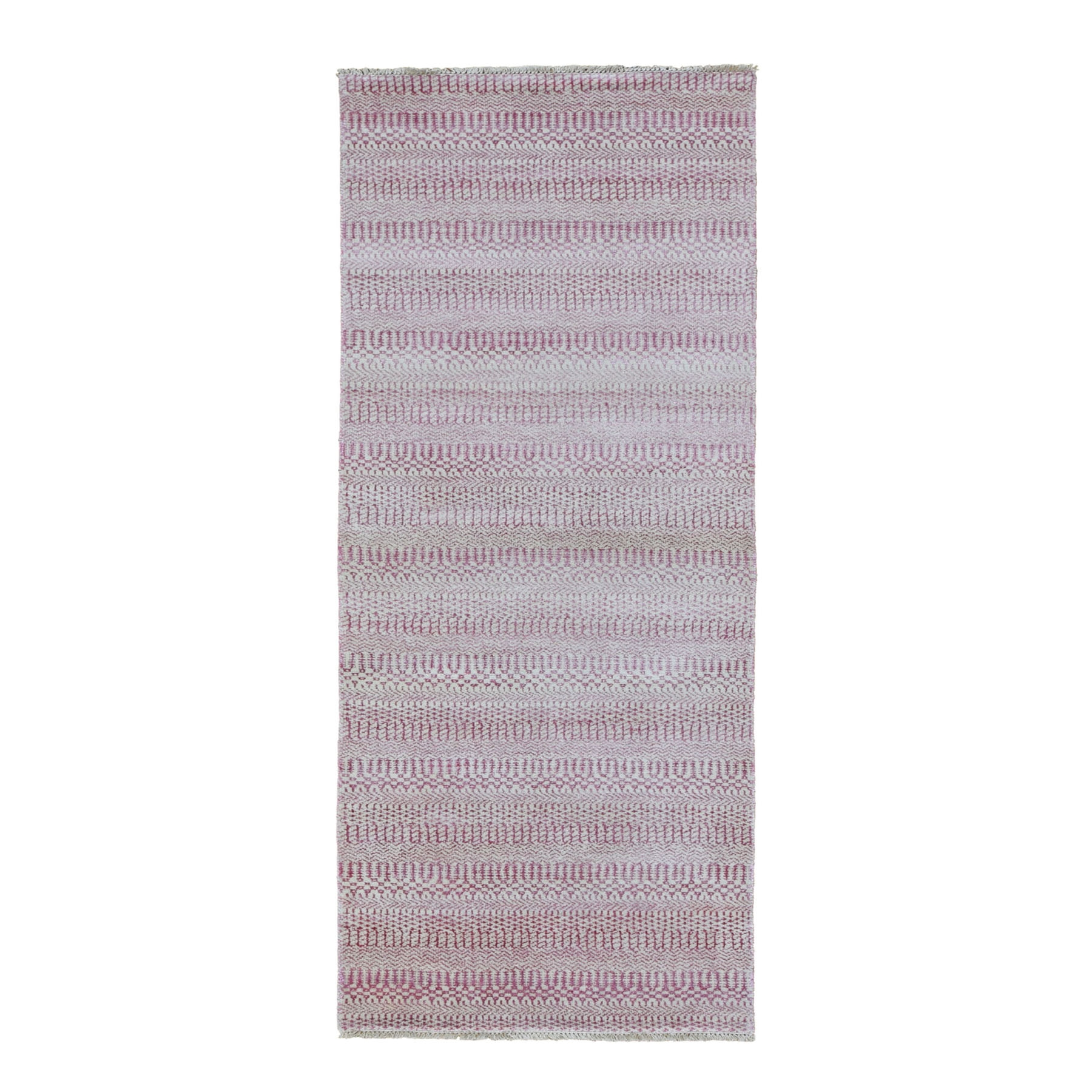 "2'7""X7'9"" Pink Grass Design Gabbeh Wool And Silk Hand Knotted Runner Oriental Rug moad7bec"