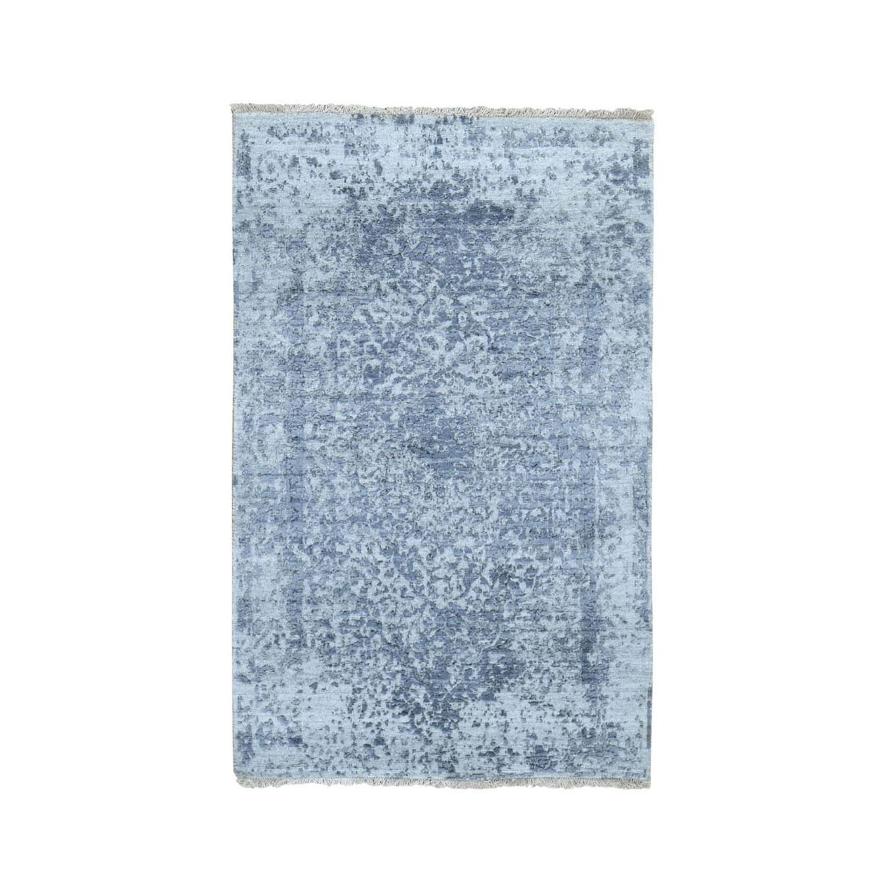 """3'X4'10"""" Silver-Dark Gray Erased Persian Design Wool And Pure Silk Hand Knotted Oriental Rug  moad7be8"""