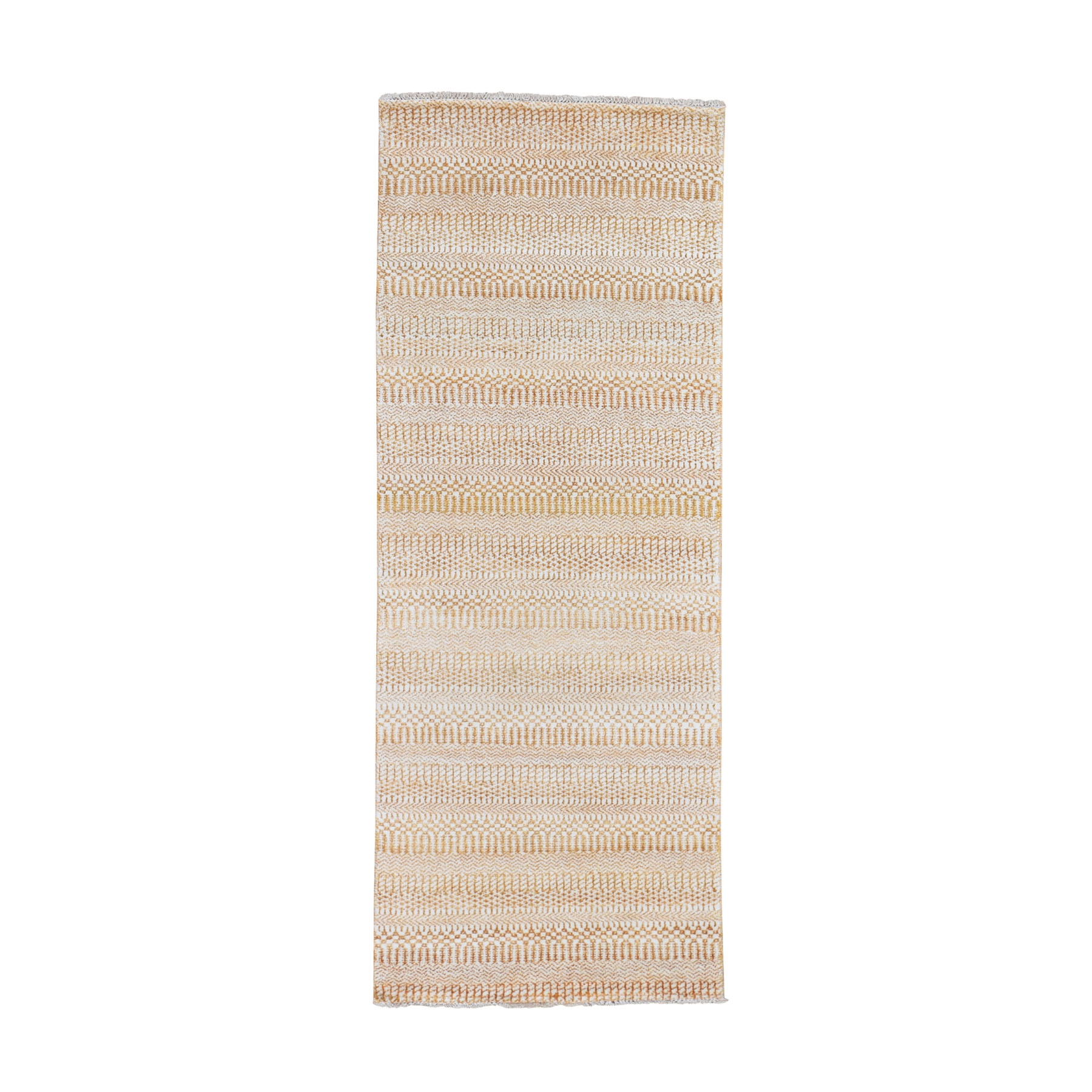 "2'6""x7'10"" Burnt Orange Grass Design Gabbeh Wool and Silk Runner Hand-Knotted Oriental Rug"