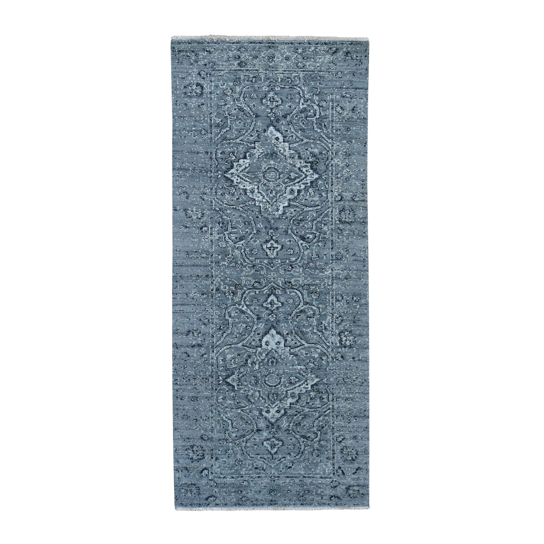 "2'9""X7'10"" Gray Broken Persian Erased Design Pure Silk With Textured Wool Runner Hand-Knotted Oriental Rug moad7b70"