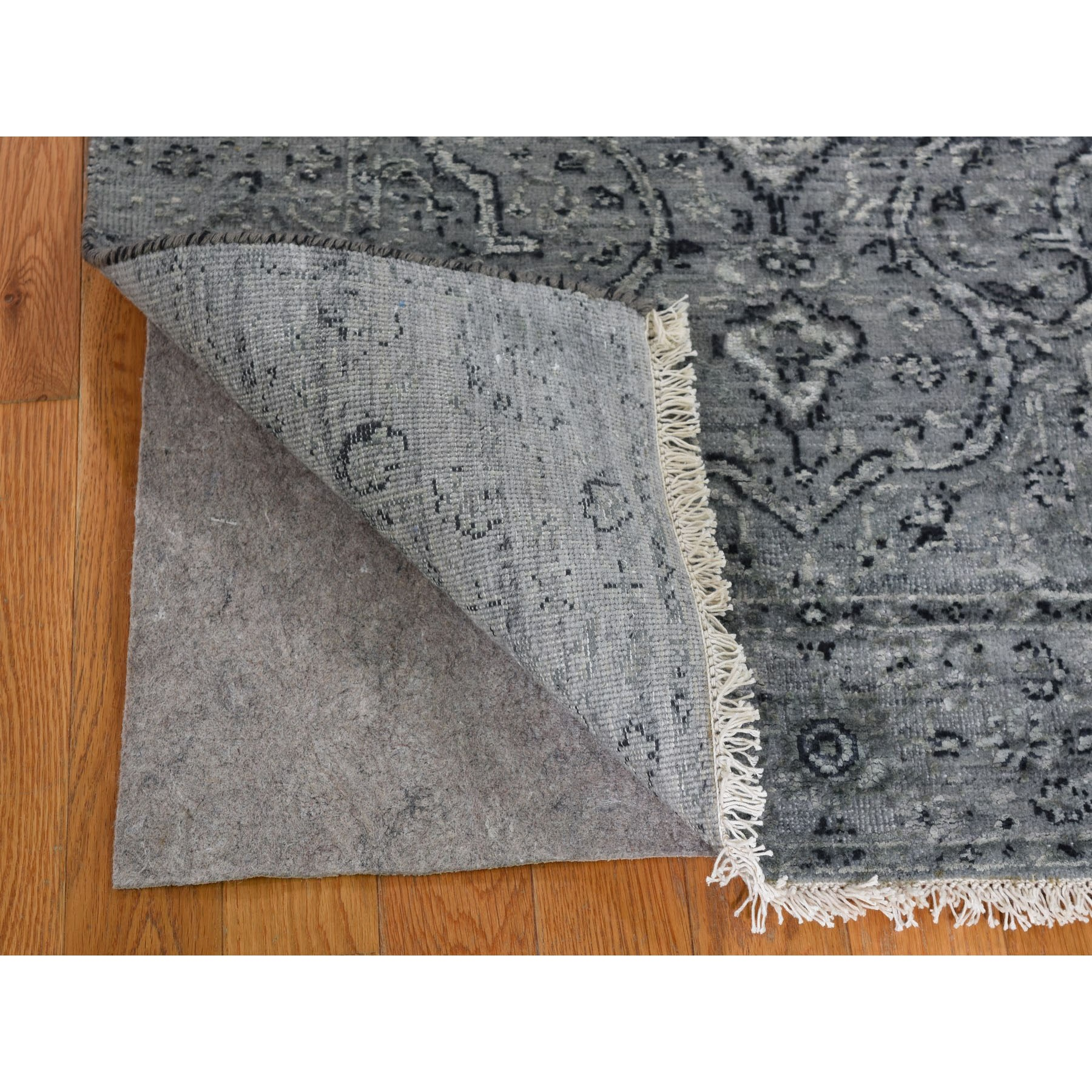 2-9 x7-10  Gray Broken Persian Erased Design Pure Silk With Textured Wool Runner Hand-Knotted Oriental Rug
