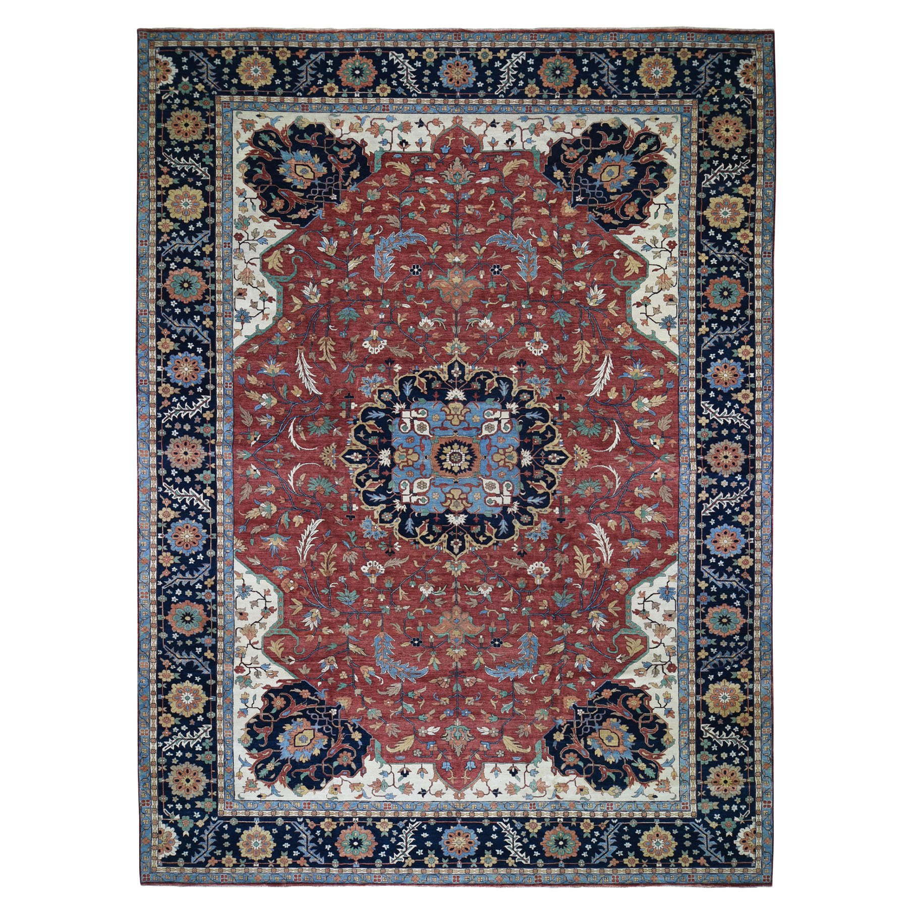 "12'X17'9"" Oversize Hand Knotted Antiqued Heriz Re-Creation Pure Wool Oriental Rug moad7b7b"