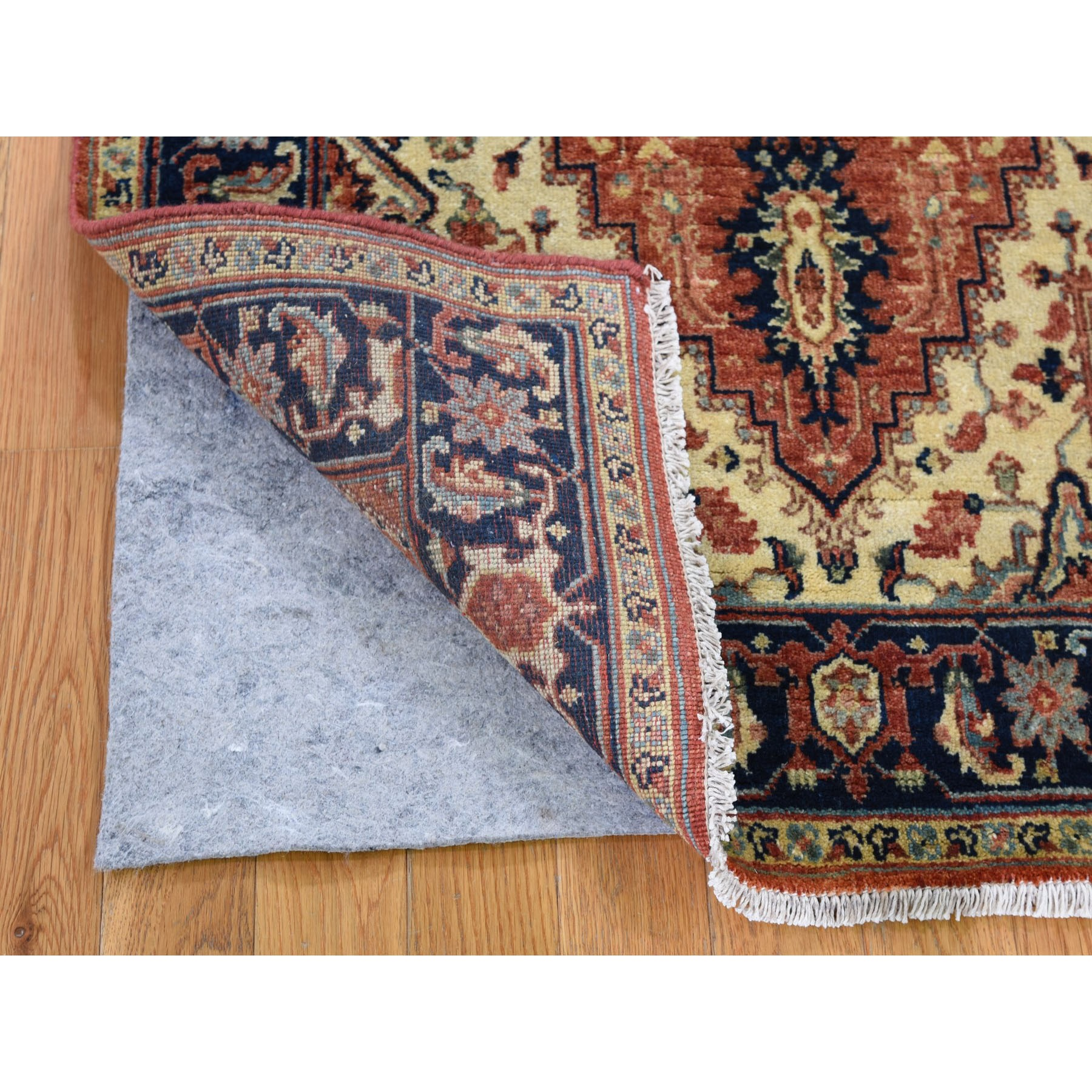 """3'1""""x5'3"""" Antiqued Heriz Re-creation Pure Wool Hand Knotted Oriental Rug"""