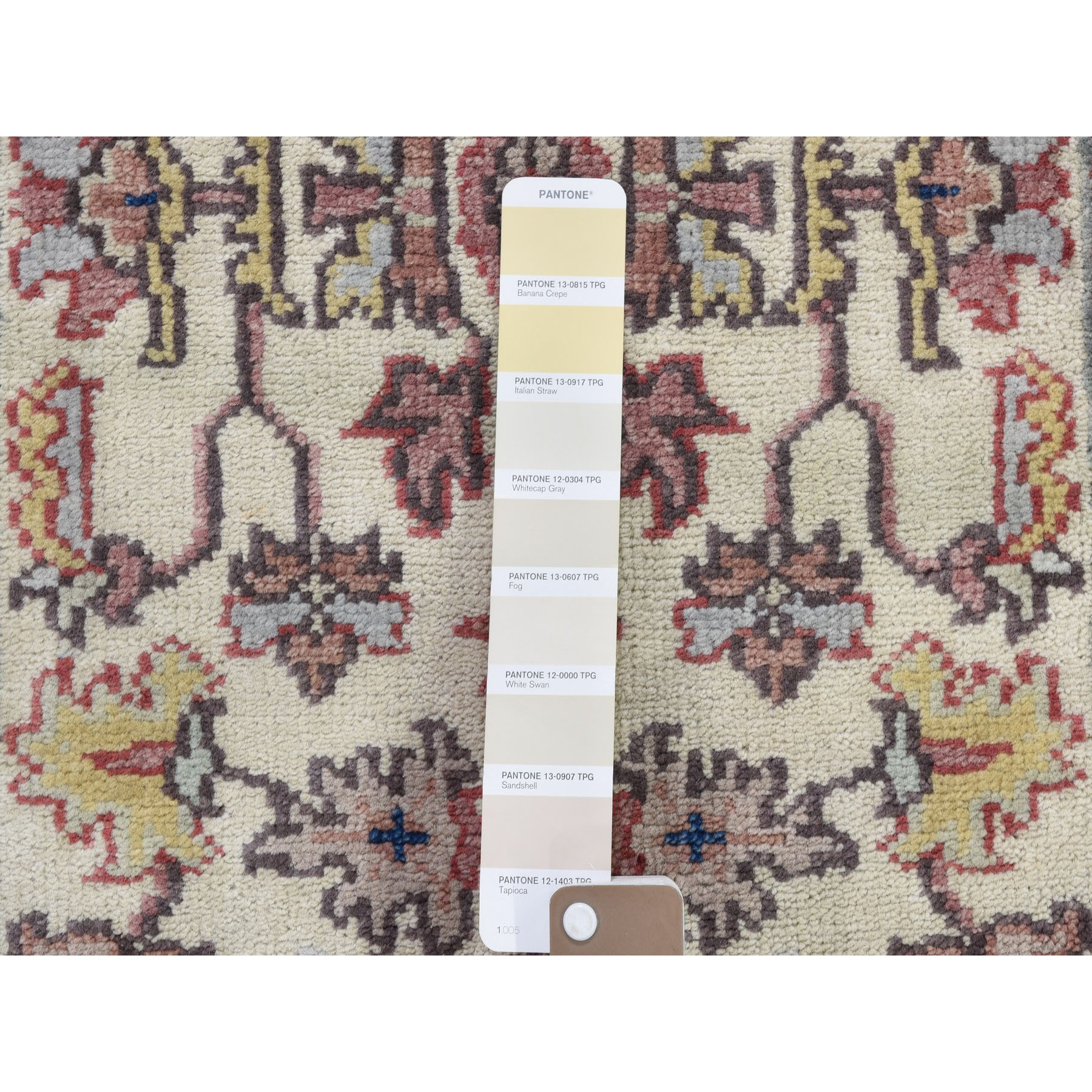 "1'10""x3' Ivory Heriz Revival All Over Design Pure Wool Hand-Knotted Oriental Rug"