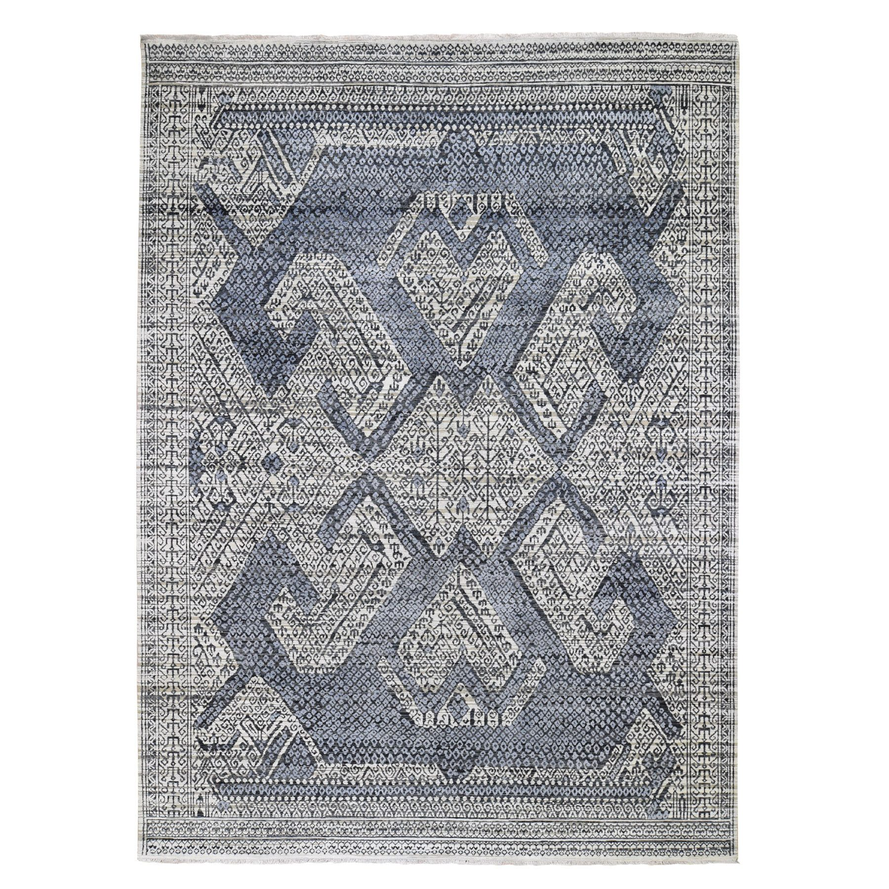 "9'X12'3"" Hand Knotted Ivory Pure Silk And Textured Pile With Geometric Motif Oriental Rug moad7cea"