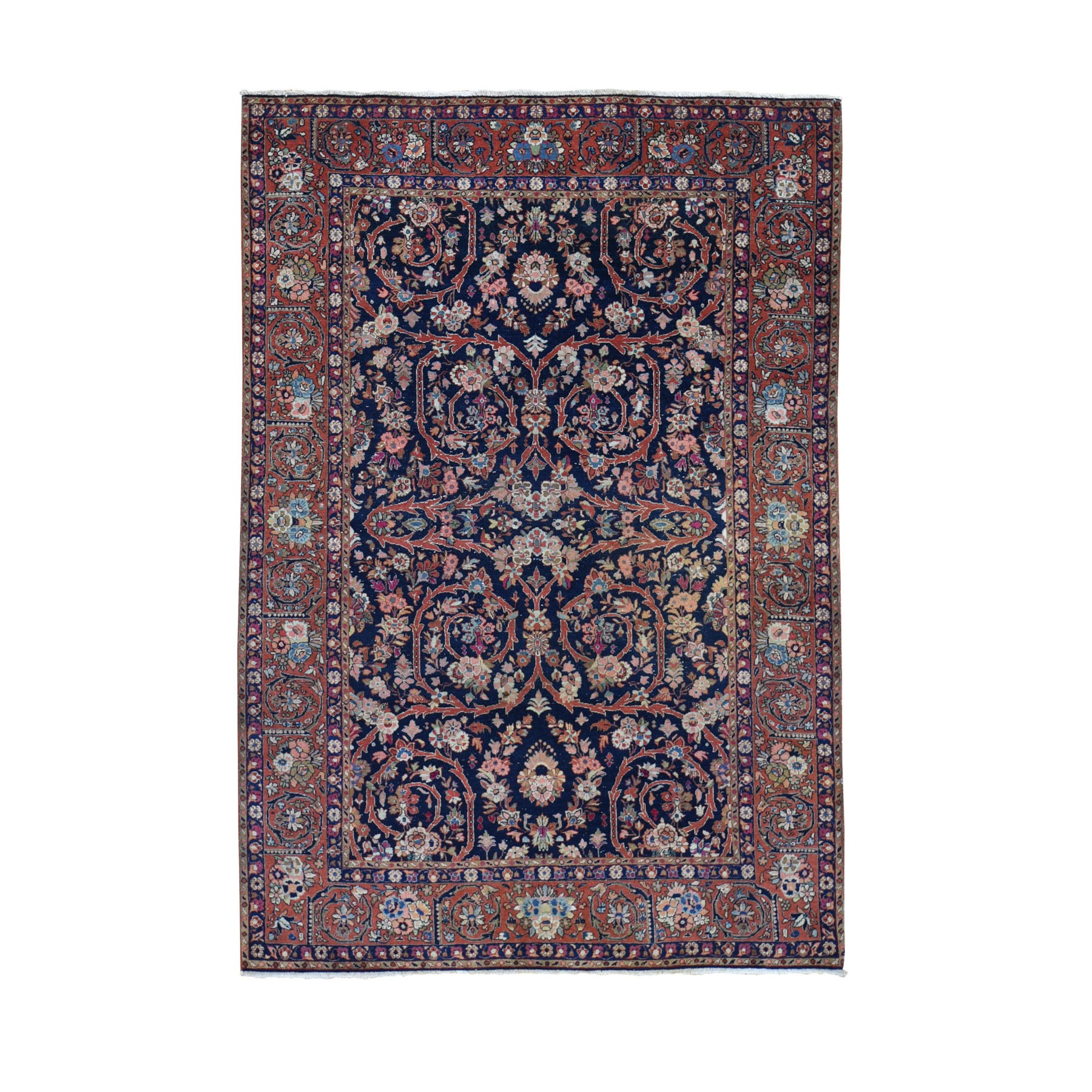 "4'7""X6'10"" Navy Blue Antique Persian Tabriz Pure Wool Some Wear Hand Knotted Oriental Rug moad7ce9"