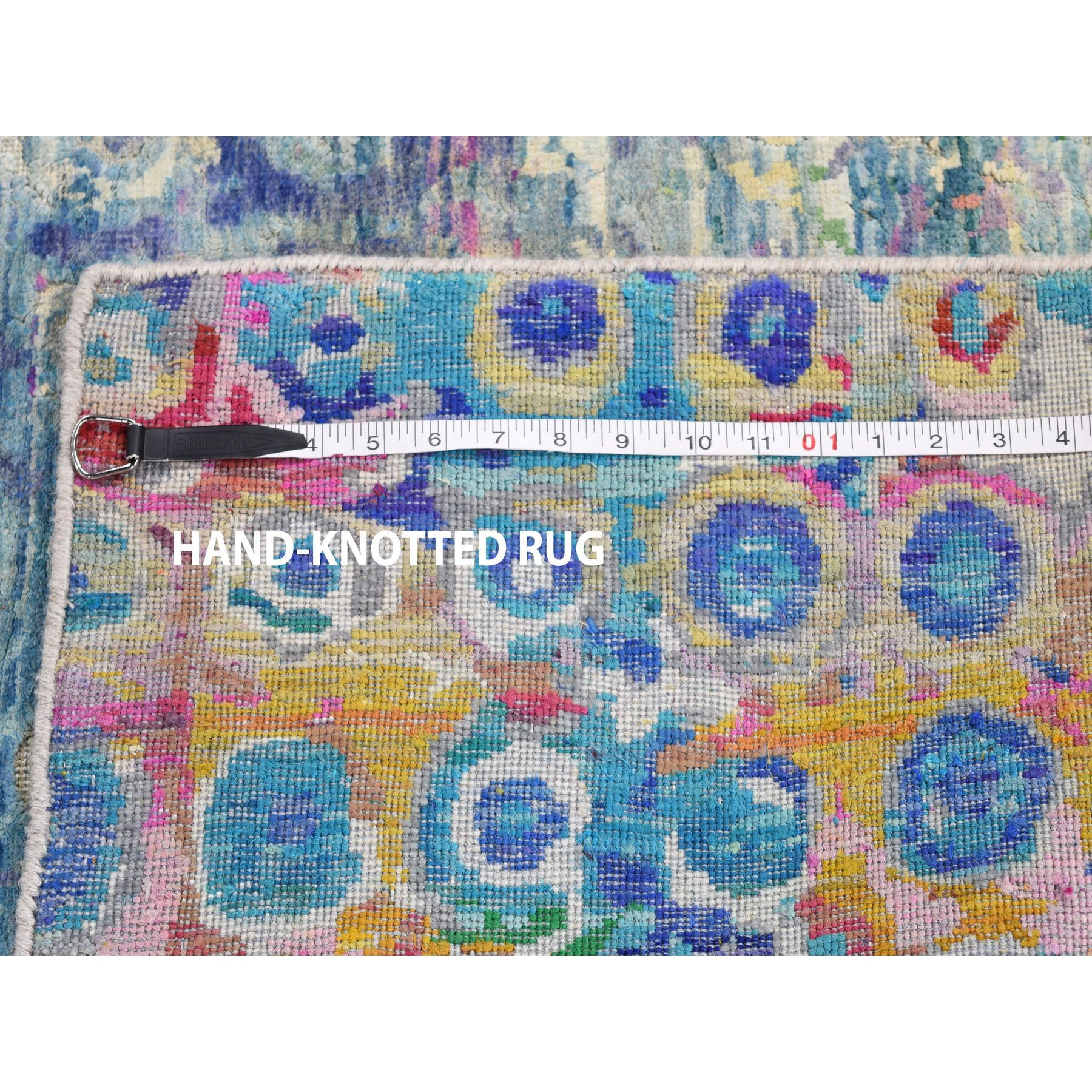 "2'7""x10'2"" THE PEACOCK Sari Silk Colorful Runner Hand Knotted Oriental Rug"