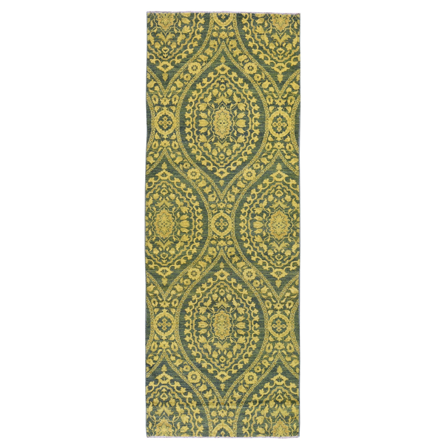 "4'1""X11'8"" Green Wide Runner Hand Knotted Overdyed Peshawar Pure Wool Oriental Rug moad7c7b"