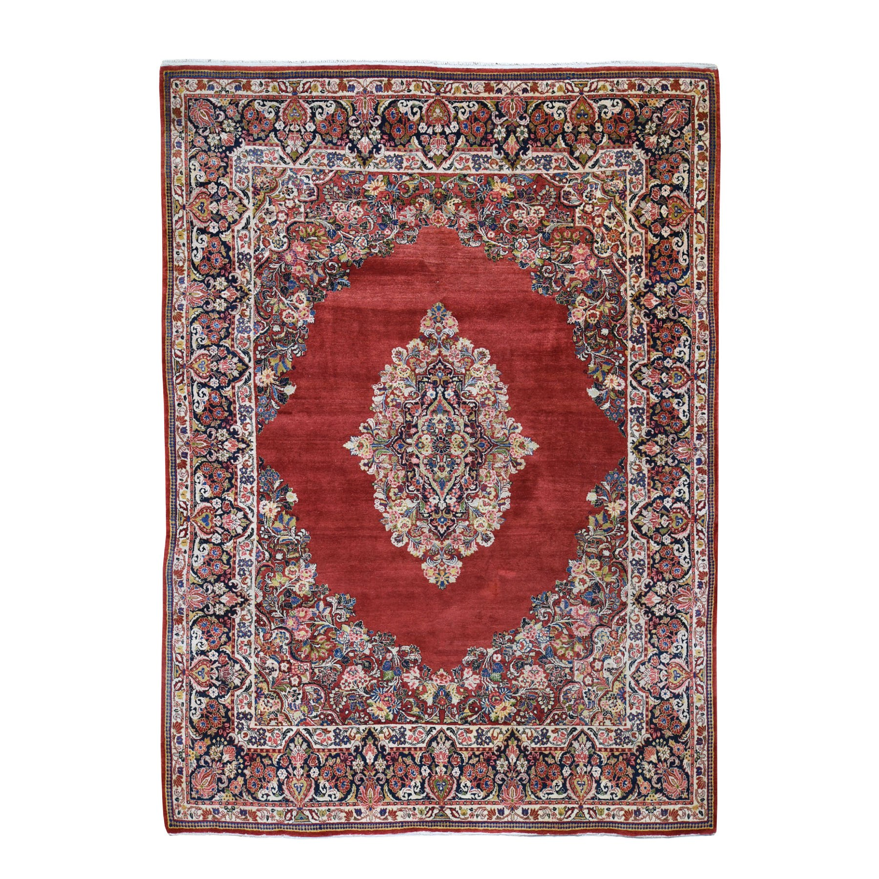 "8'8""X11'4"" Red Antique Persian Sarouk Pure Wool Full Pile Hand Knotted Oriental Rug moad7c7e"