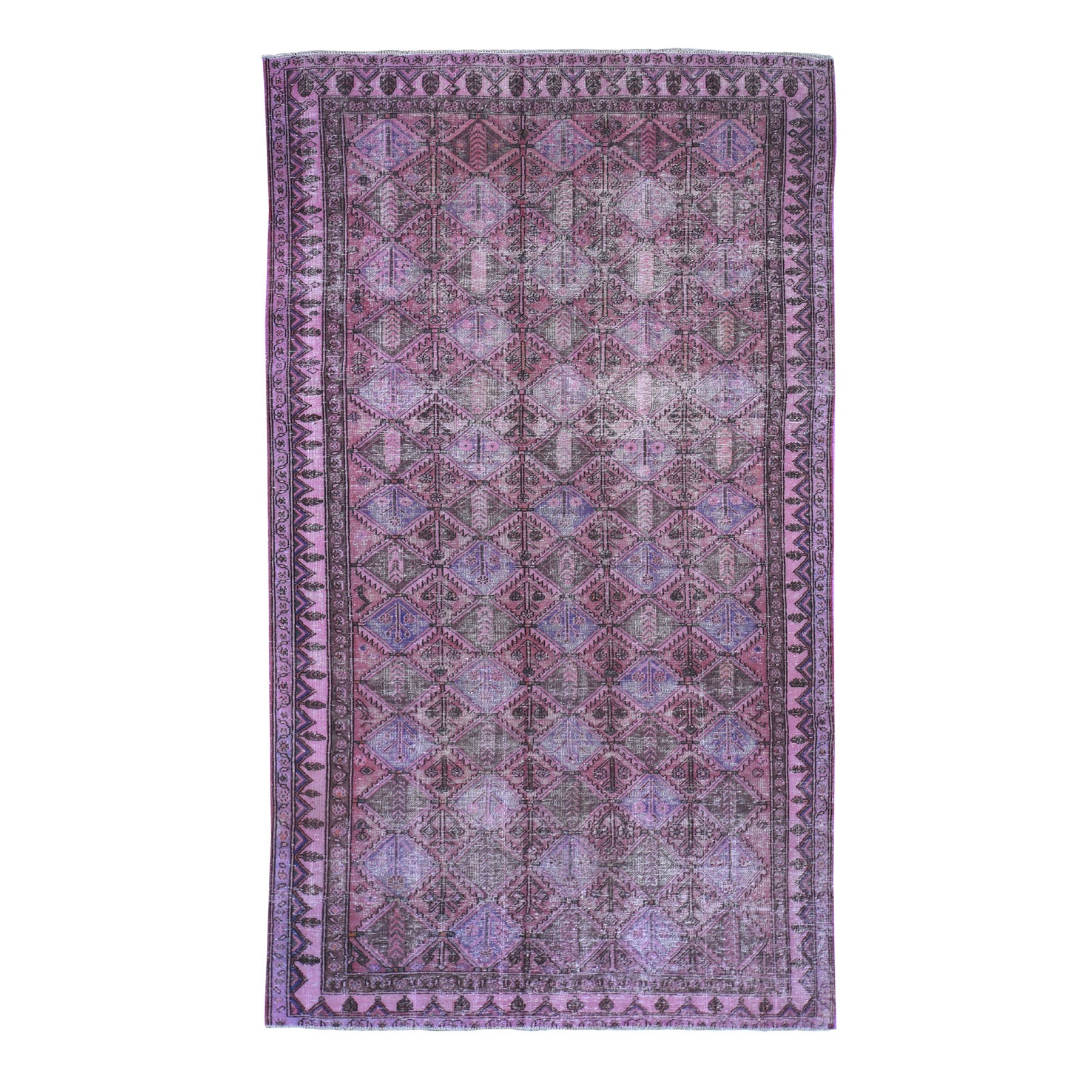 """5'x9'3"""" Overdyed Persian Hamadan Worn Pile Wide Runner Hand Knotted Oriental Rug"""