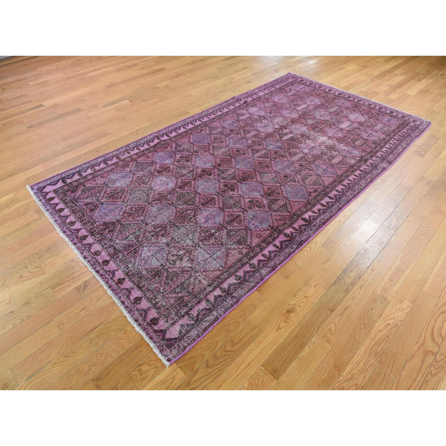 5-x9-3  Overdyed Persian Bakhtiari Worn Pile Wide Runner Hand Knotted Oriental Rug