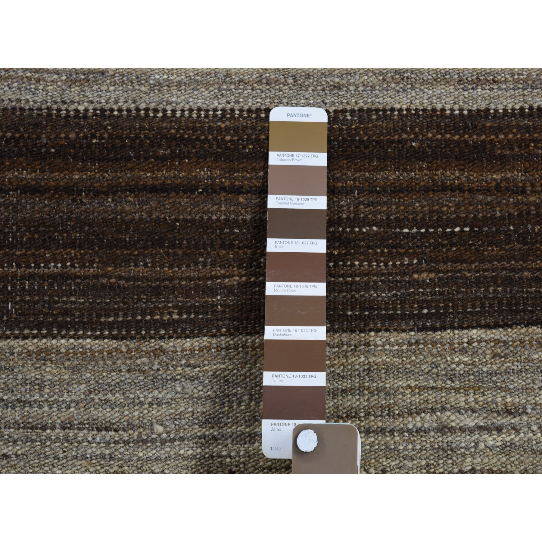 2'x3' Undyed Natural Wool Flat Weave Kilim Hand Woven Oriental Rug