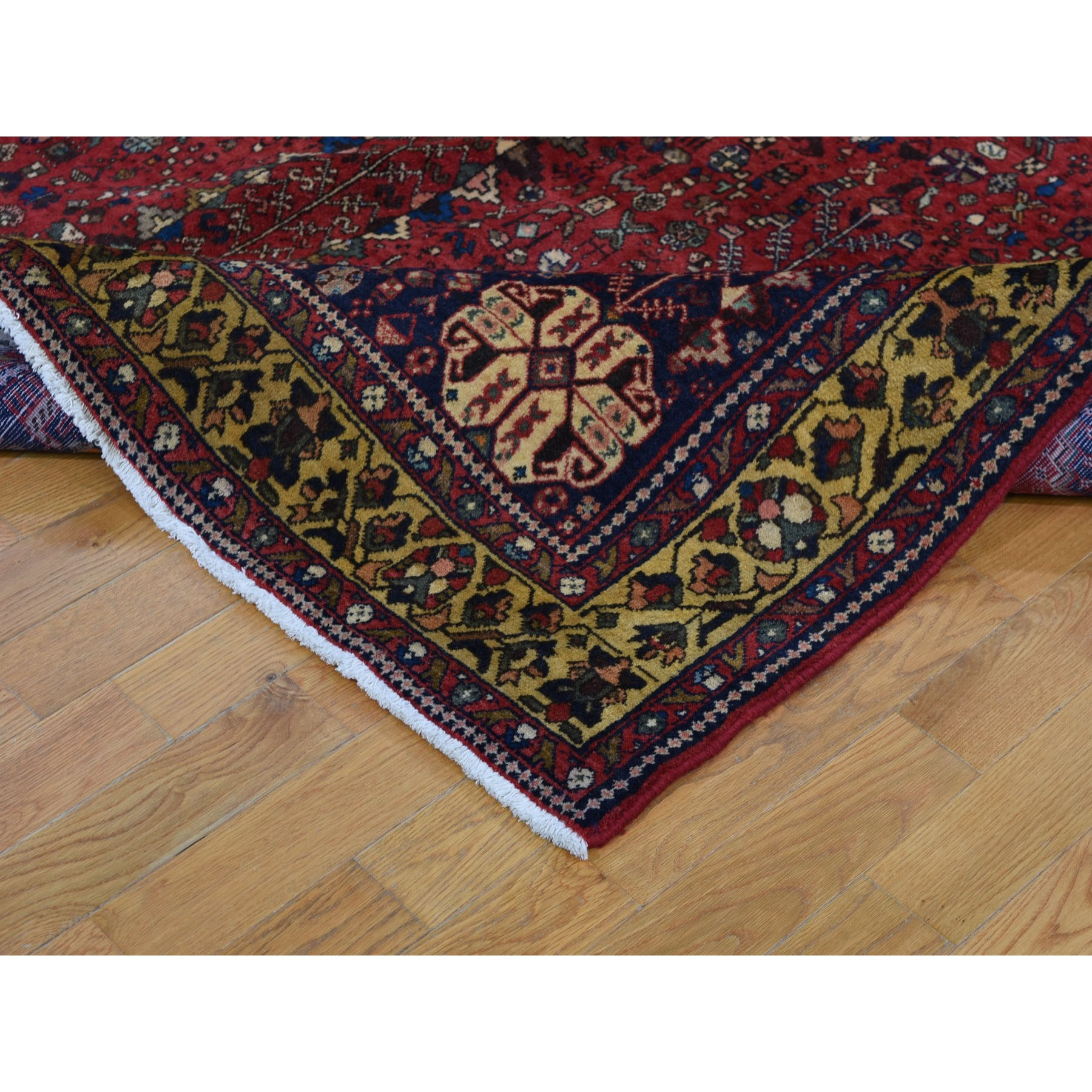 "6'7""x9'4"" Red Vintage Persian Shiraz Pure Wool Hand Knotted Exc Condition Oriental Rug"