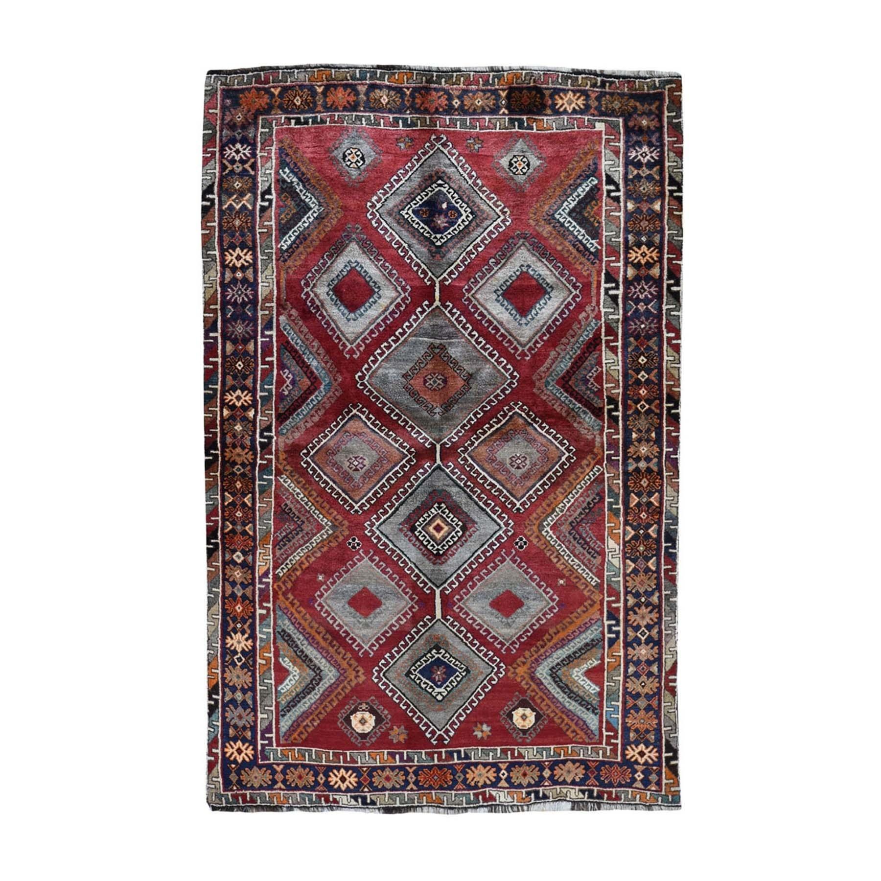 5-x8-8  Red New persian Shiraz Pure Wool Hand Knotted Oriental Rug