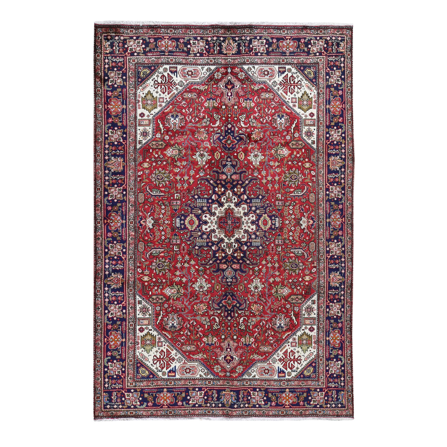 "6'6""X9'8"" Red New Persian Tabriz Pure Wool Hand Knotted Oriental Rug moad7dbb"