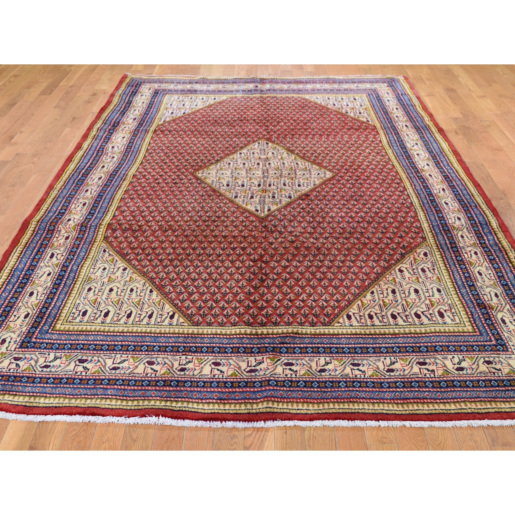 """6'7""""x10'2"""" Red New Persian Sarouk Mir Full Pile Pure Wool Small Design Hand Knotted Oriental Rug"""