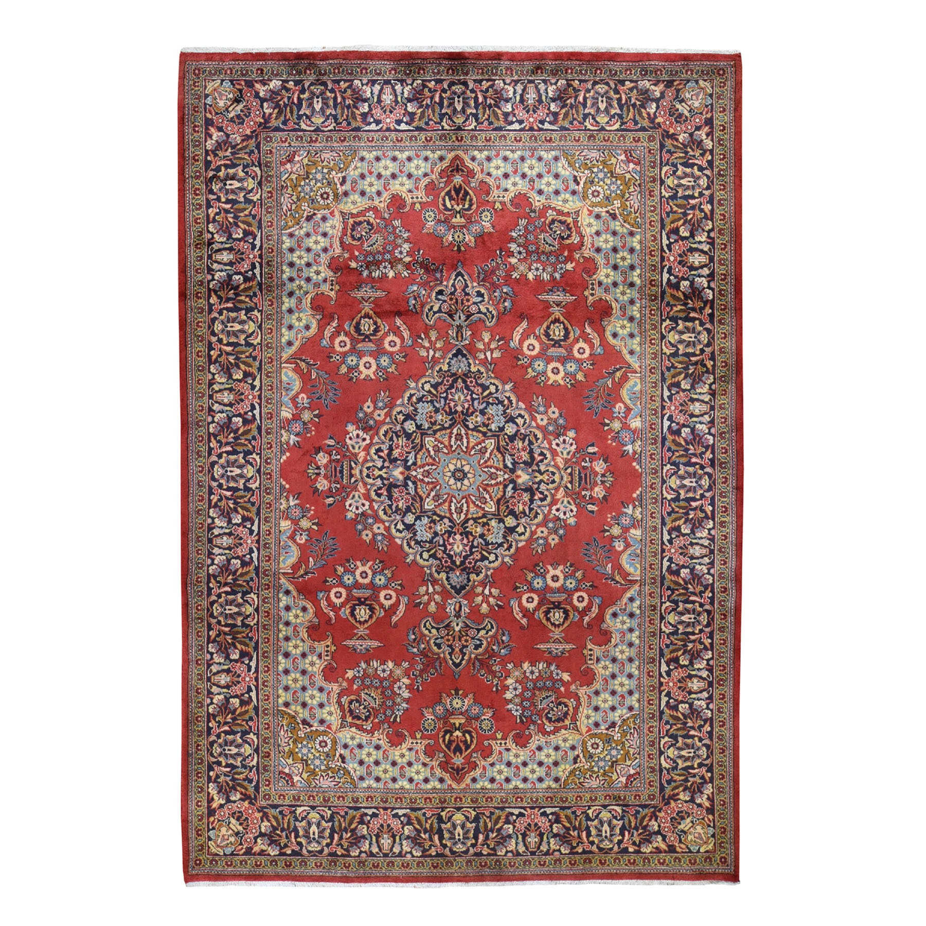 "7'2""X10'5"" Red New Persian Tabriz Pure Wool Full Pile Hand Knotted Oriental Rug moad7dbe"