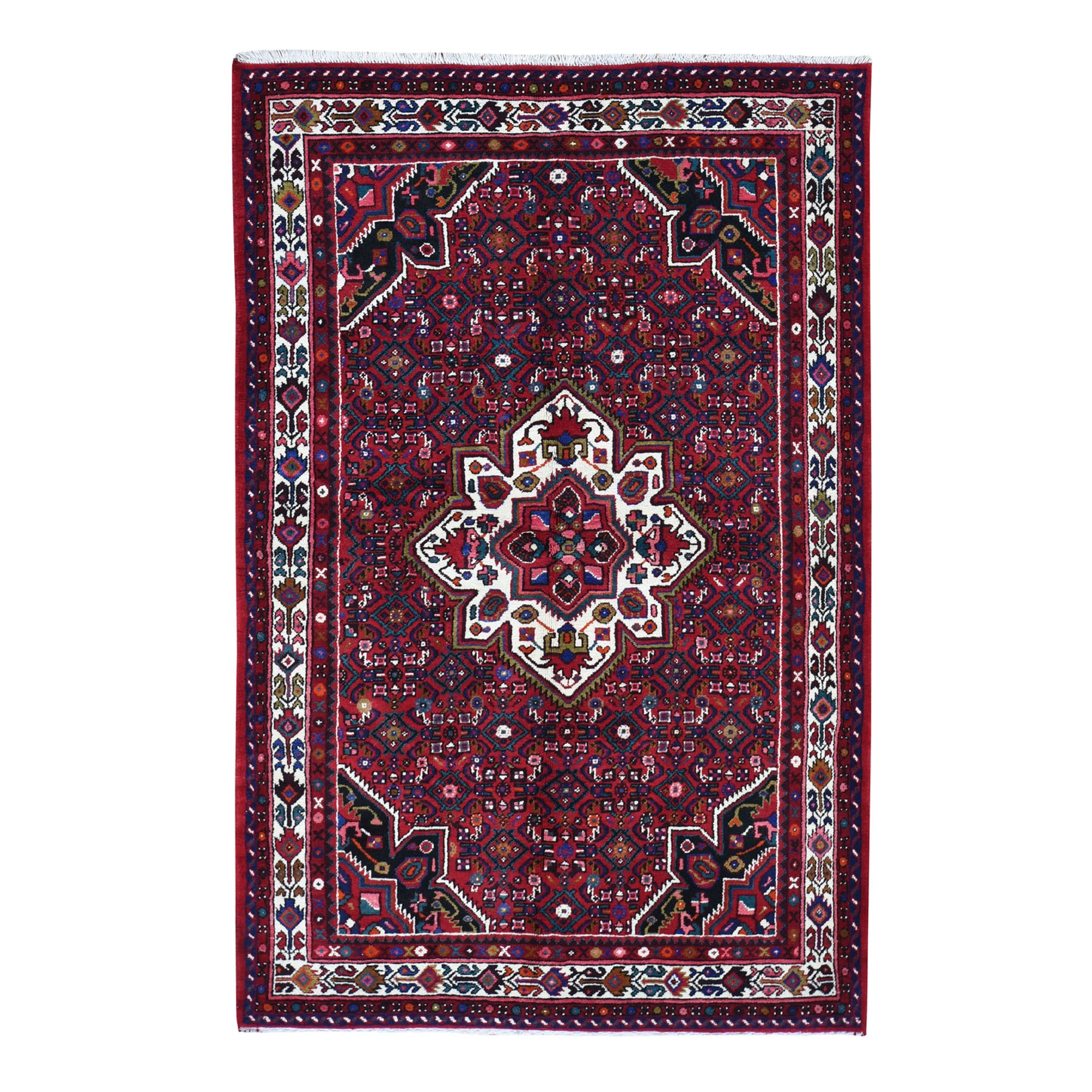 "5'X7'7"" Red New Persian Hamadan Pure Wool Hand Knotted Oriental Rug moad7db6"
