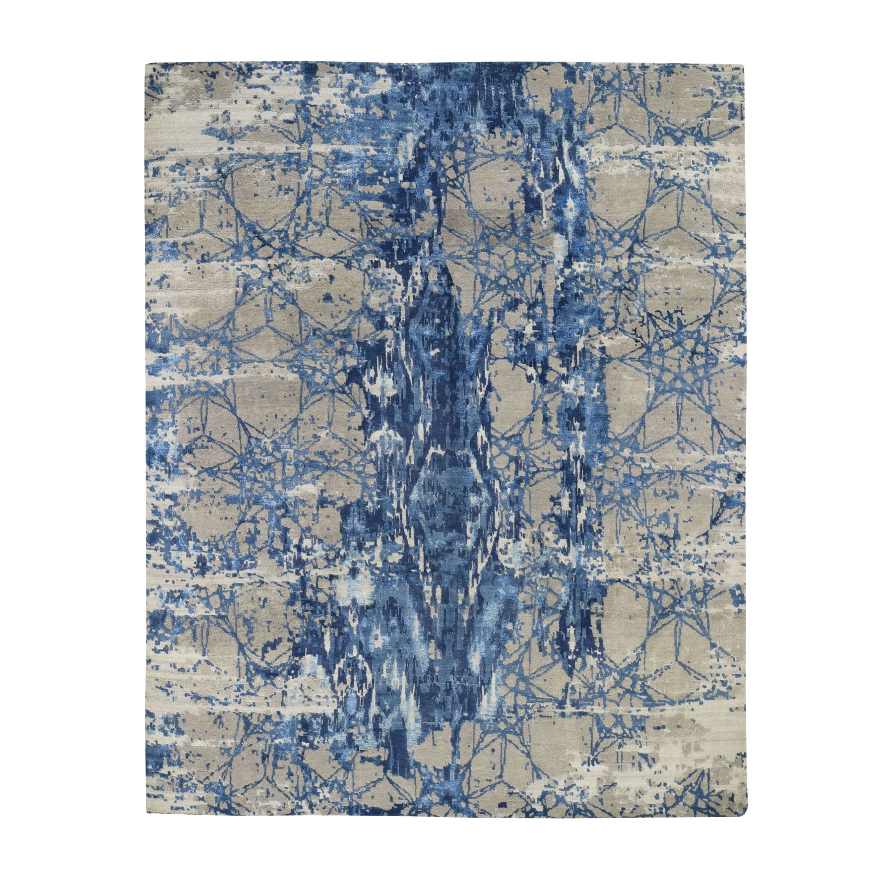 """8'1""""x10' Hi And Lo Pile Wool And Silk Abstract Design Hand knotted Oriental Rug"""