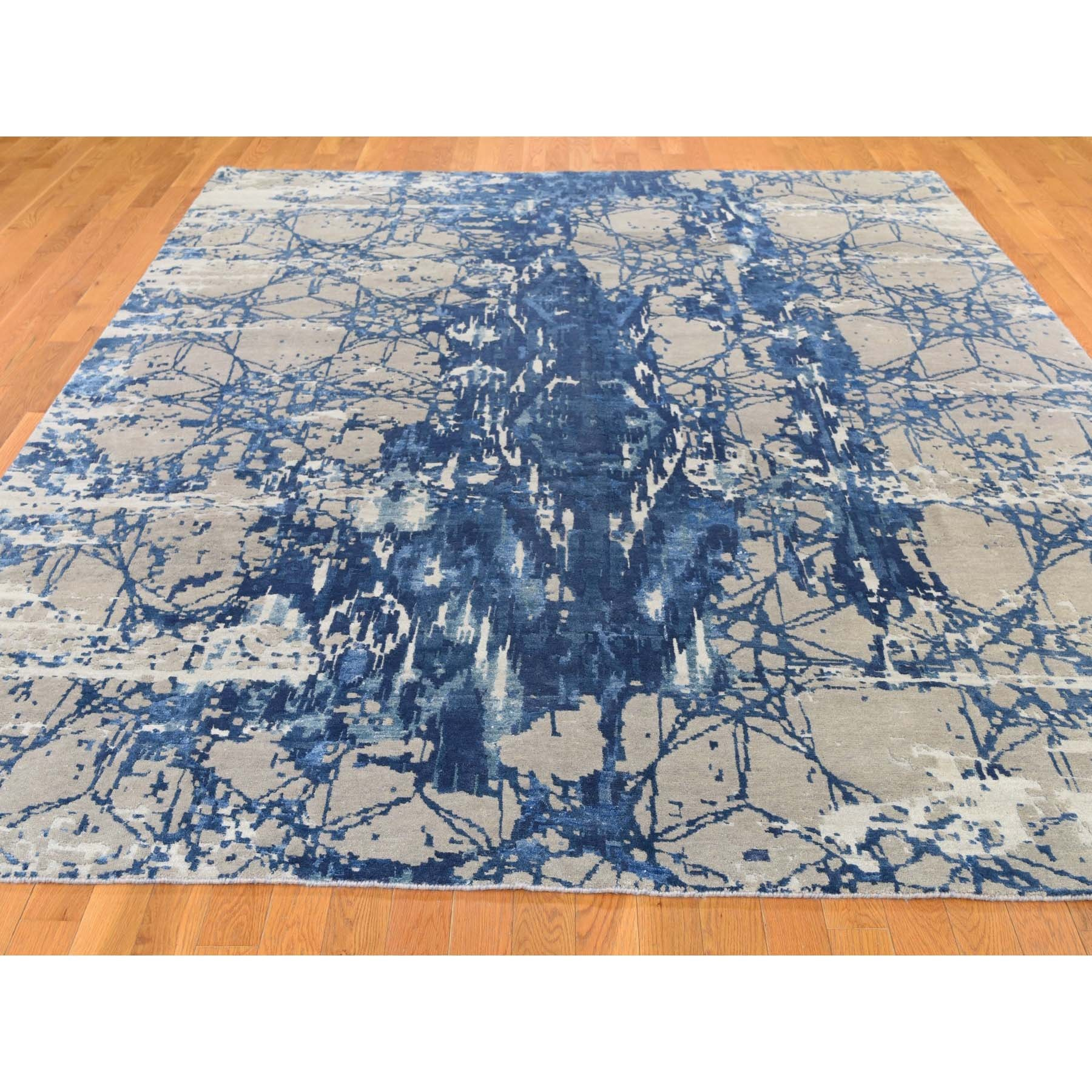 8-1 x10- Hi And Lo Pile Wool And Silk Abstract Design Hand knotted Oriental Rug