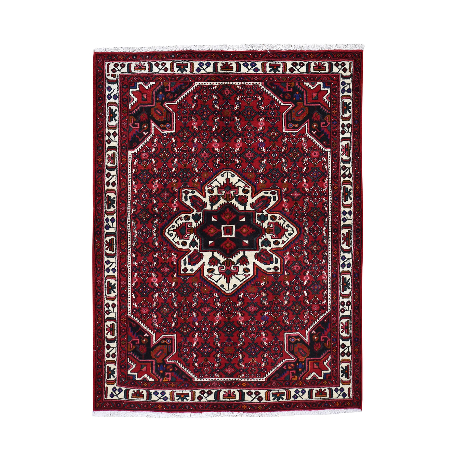 "5'4""X7' Red New Persian Hamadan Pure Wool Hand Knotted Oriental Rug moad7dcb"