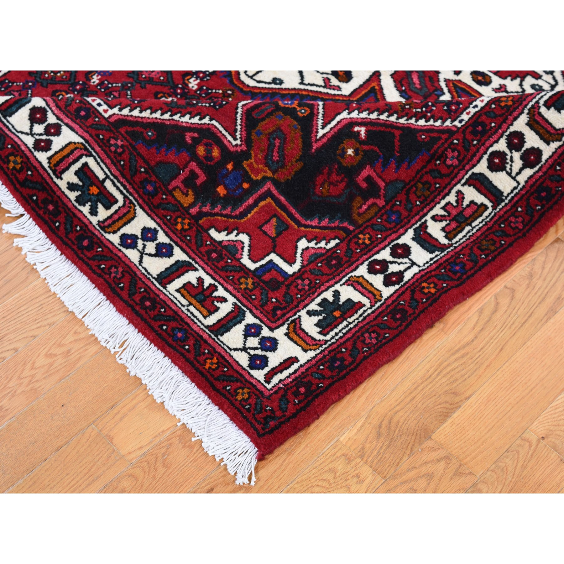 "5'4""x7' Red New Persian Hamadan Pure Wool Hand Knotted Oriental Rug"