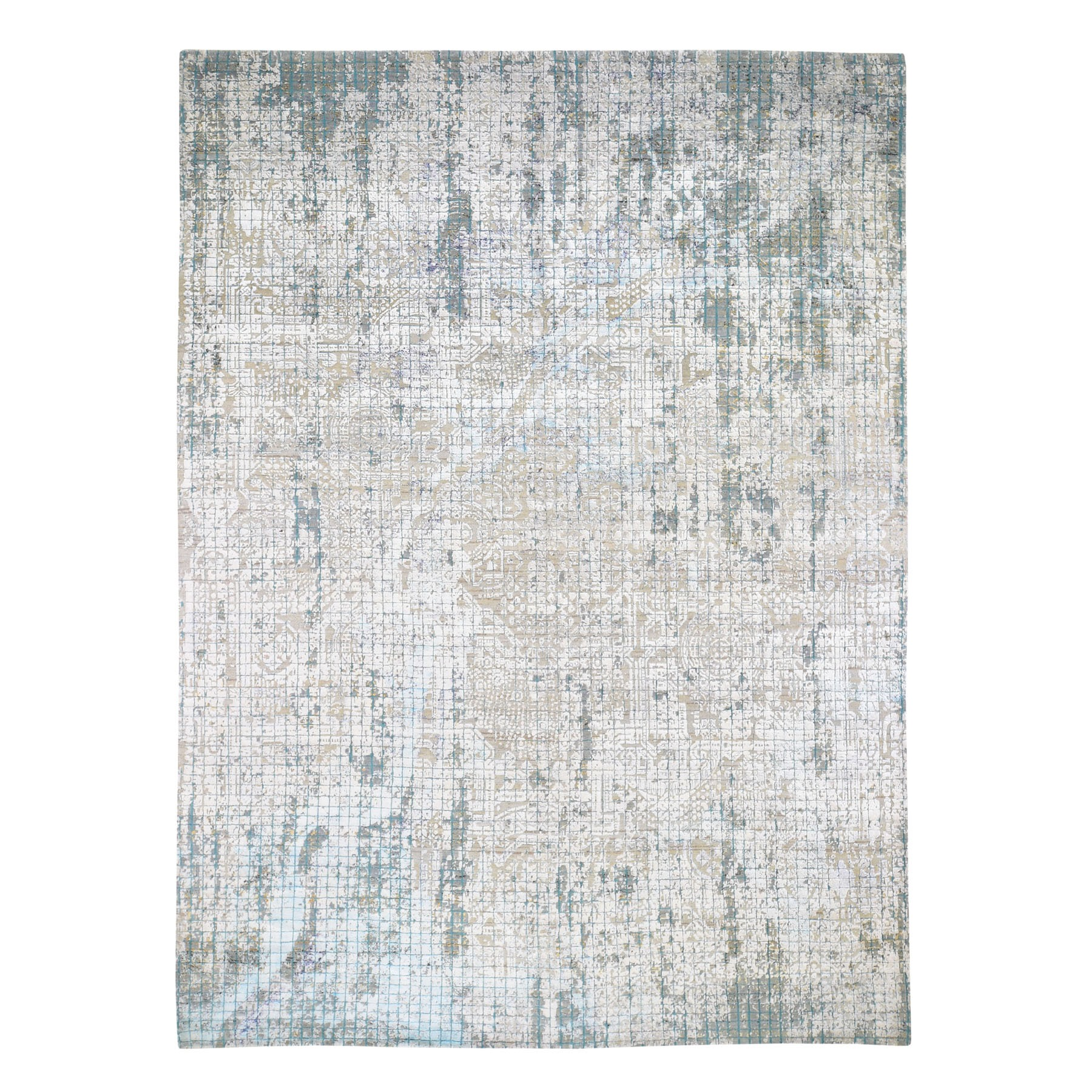 "8'9""X11'10"" Roman Mosaic Design Hand Knotted Modern Wool And Silk Oriental Rug moad7dcc"