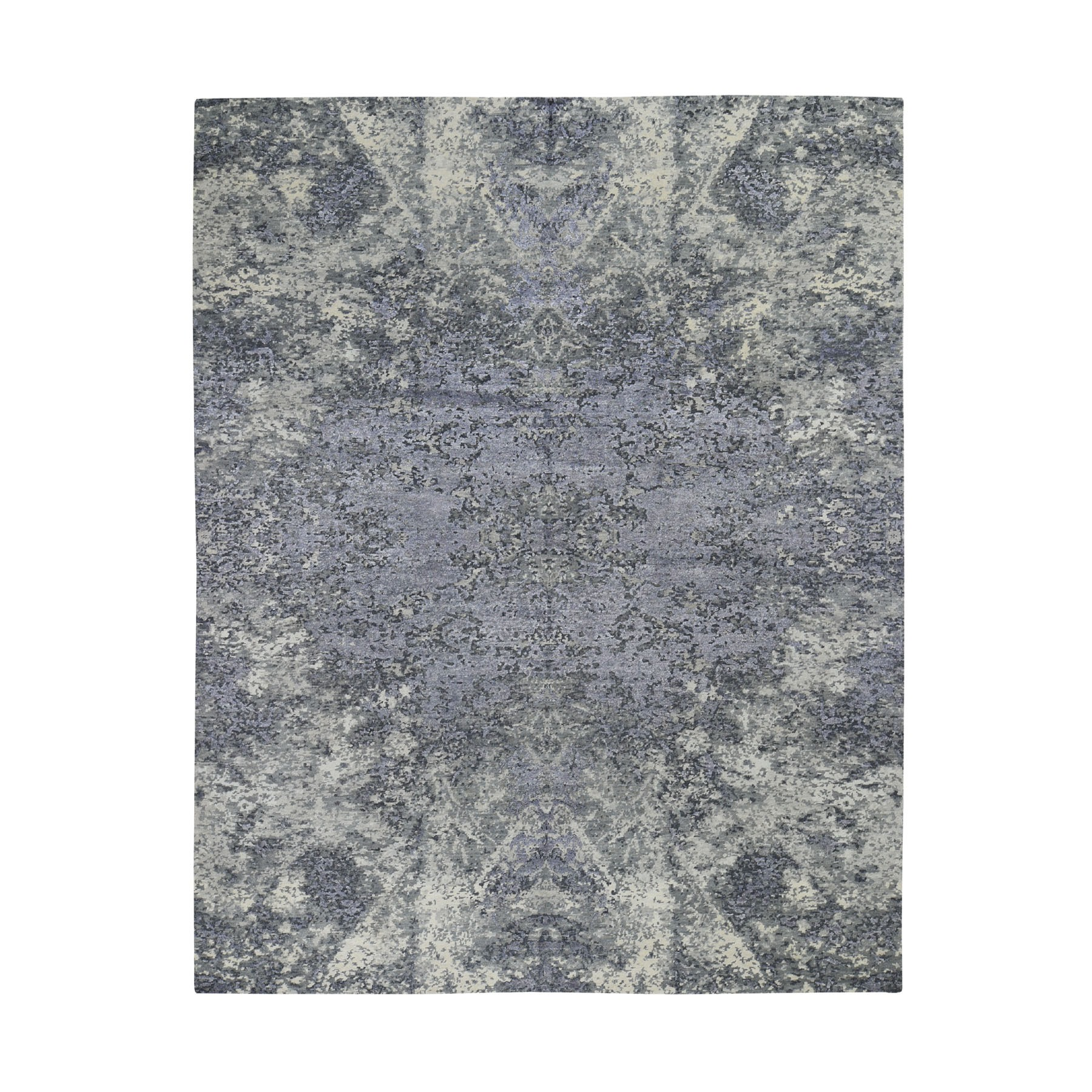"8'X9'9"" Wool And Silk Abstract Tone-On-Tone Gray Hand Knotted Oriental Rug moad7dce"