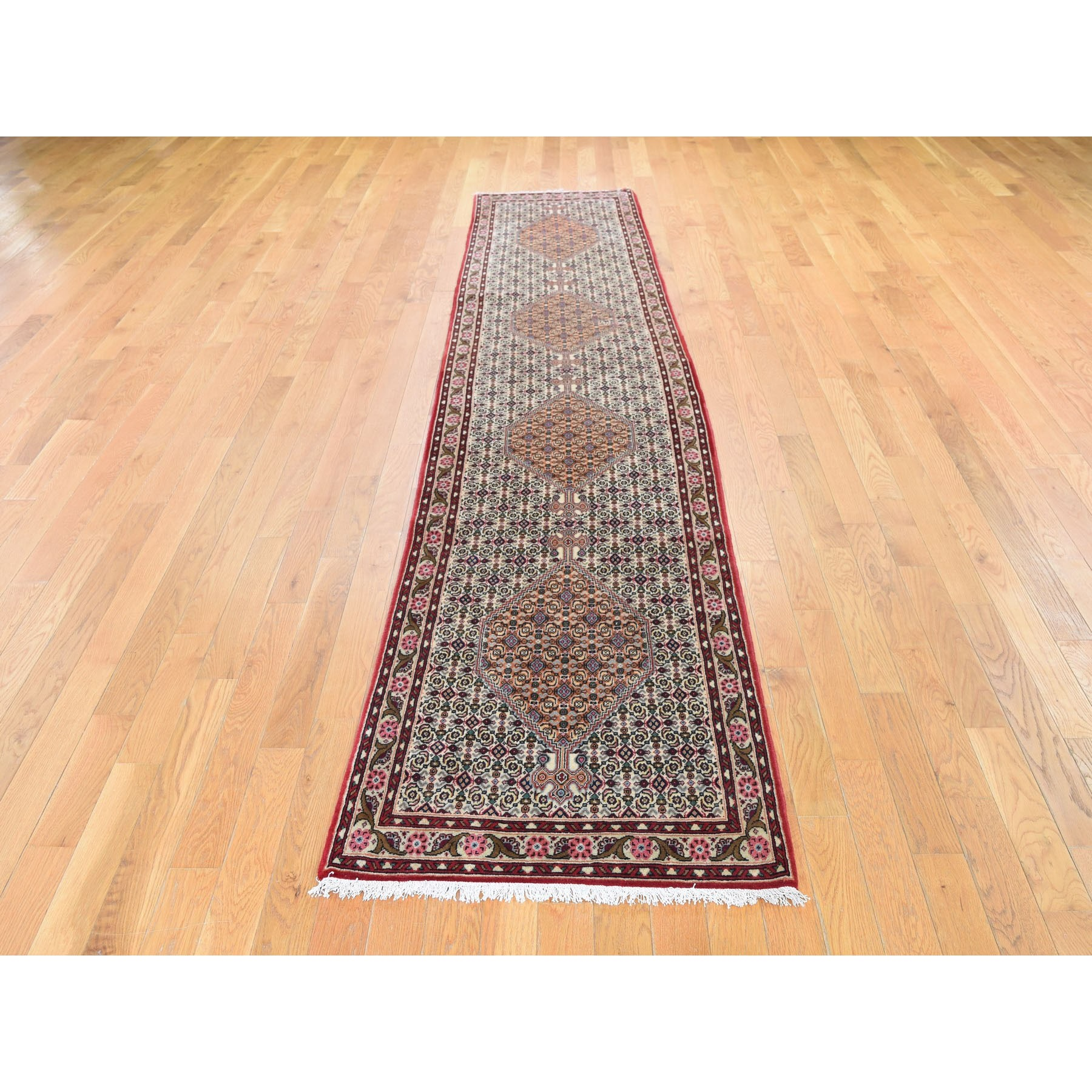 "2'4""x11'4"" Ivory New Persian Bijar Pure Wool Hand Knotted Narrow Runner Hand Knotted Oriental Rug"