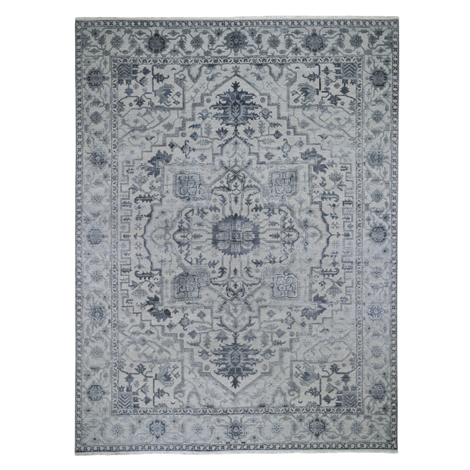 9'X12' Wool And Silk Heriz Design Grey Hand Knotted Oriental Rug moad7dc8