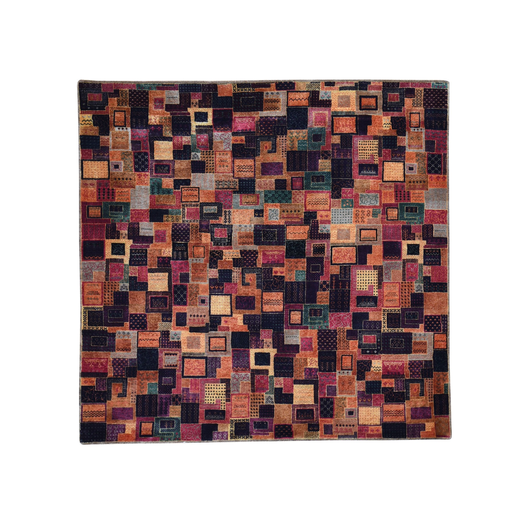 "6'6""x6'6"" Multicolored Square Patchwork Gabbeh Wool And Silk Hand Knotted Oriental Rug"