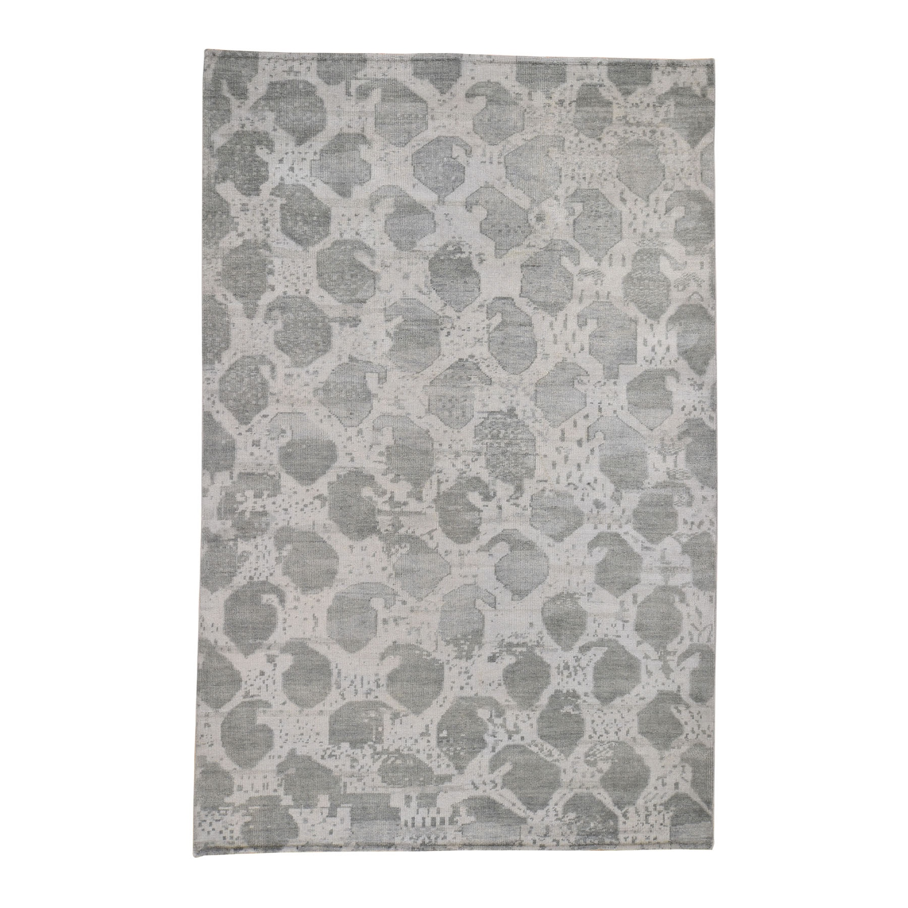 "5'10""X9' Distressed Look White Wash Oushak Boteh Design  Pure Wool Hand Knotted Oriental Rug moad7dde"