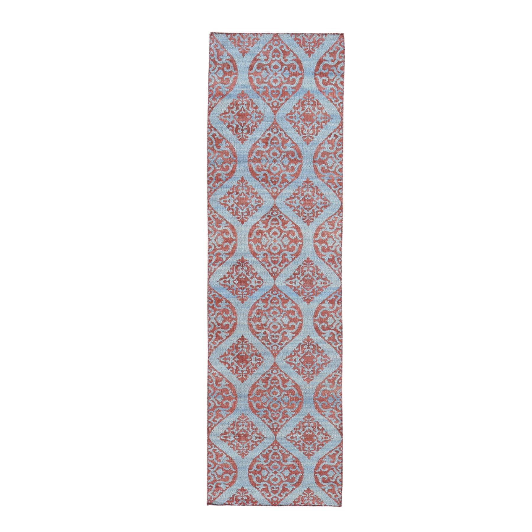 "2'6""X9'9"" Hand Woven Reversible Kilim Flat Weave Runner Oriental Rug moad7deb"