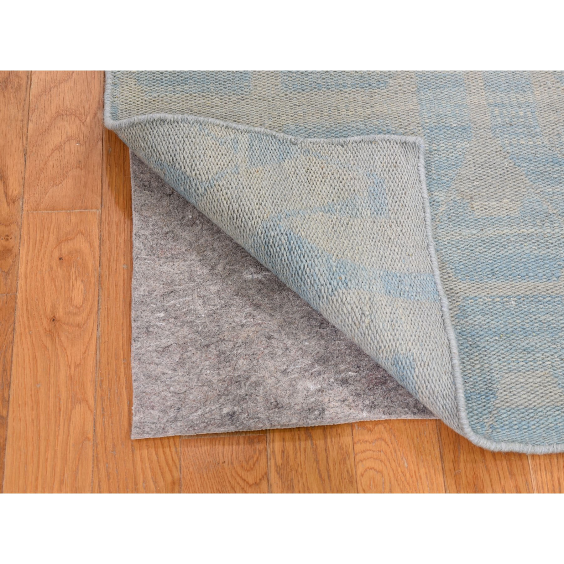 "2'6""x9'10"" Hand Woven Pure Wool Sky Blue Reversible Kilim Flat Weave Oriental Rug"