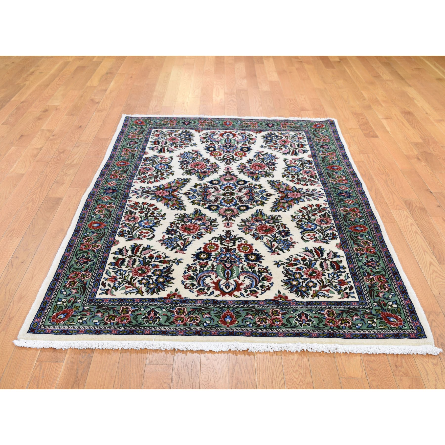 4-4 x6-8  Ivory New Persian Sarouk Pure Wool Hand Knotted Oriental Rug