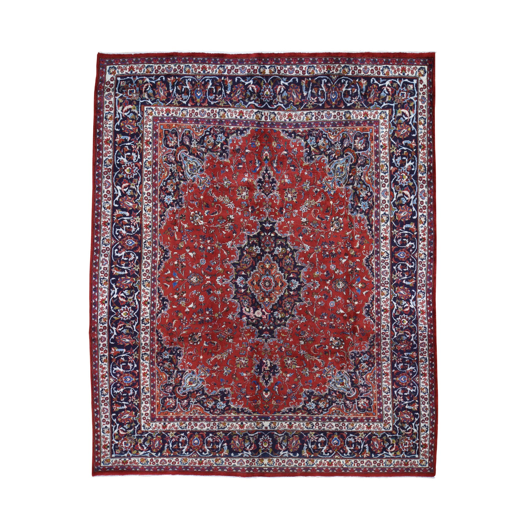 "8'1""X10'5"" Red Vintage Mashad Pure Wool Full Pile Hand Knotted Oriental Rug moad7d7e"