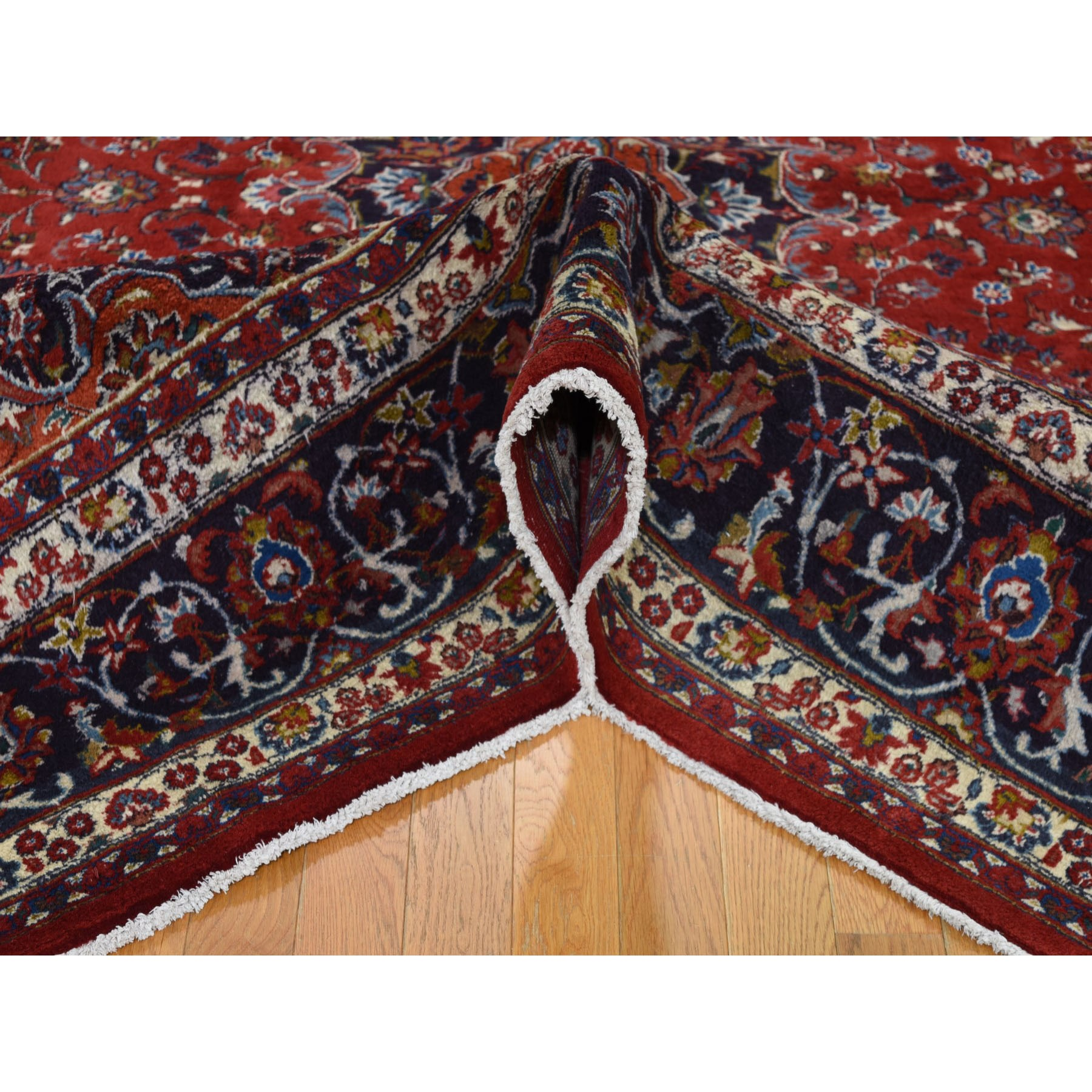 """8'1""""x10'5"""" Red Vintage Mashad Pure Wool Full Pile Hand Knotted Oriental Rug"""