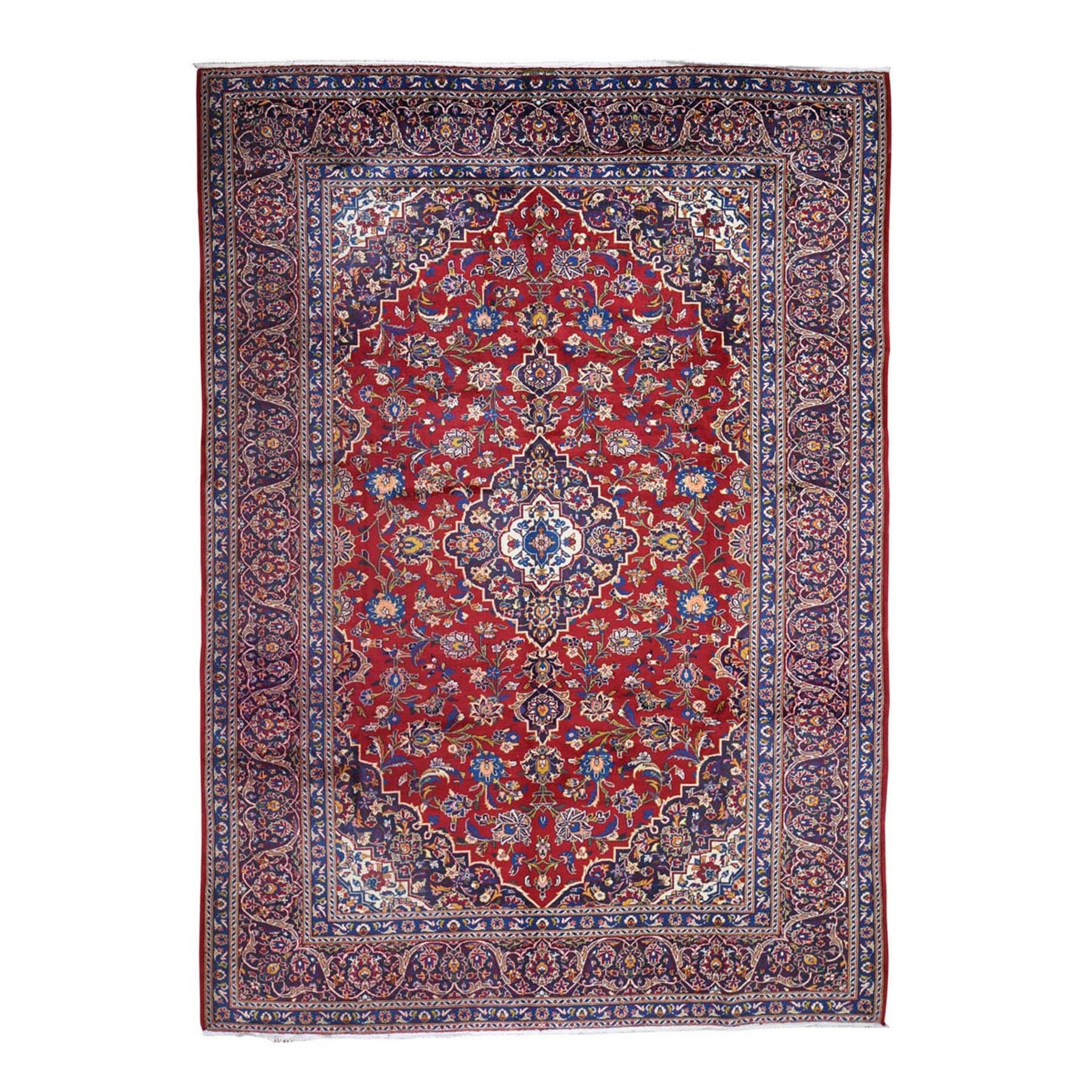 "7'9""X11' Red Vintage Persian Kashan Pure Wool Exc Condition Hand Knotted Oriental Rug moad7d78"