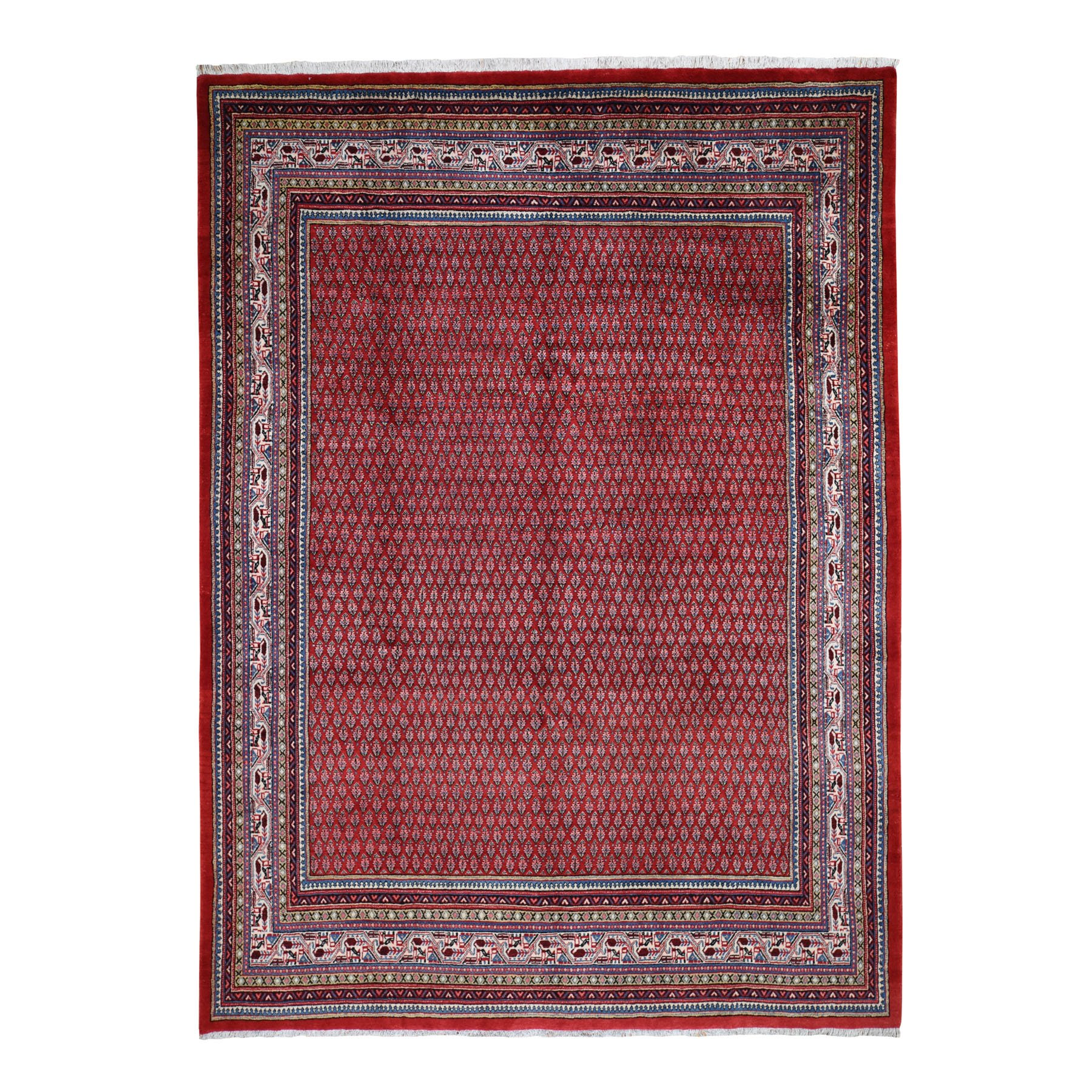 "7'10""X11'2"" Red New Persian Sarouk Mir With Repetitive Design Pure Wool Oriental Rug moad7d8a"