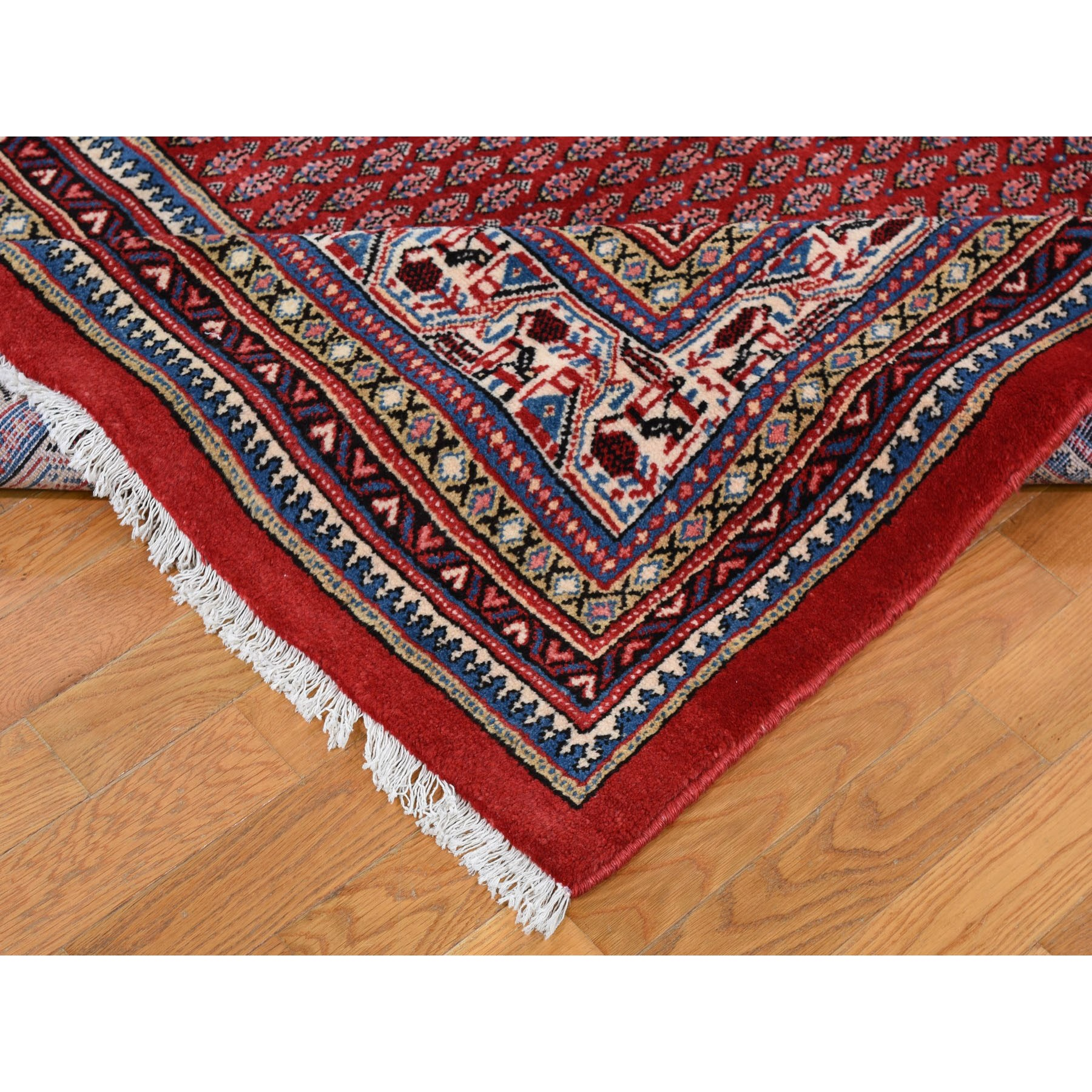7-10 x11-2  Red New Persian Sarouk Mir With Repetitive Design Pure Wool Oriental Rug